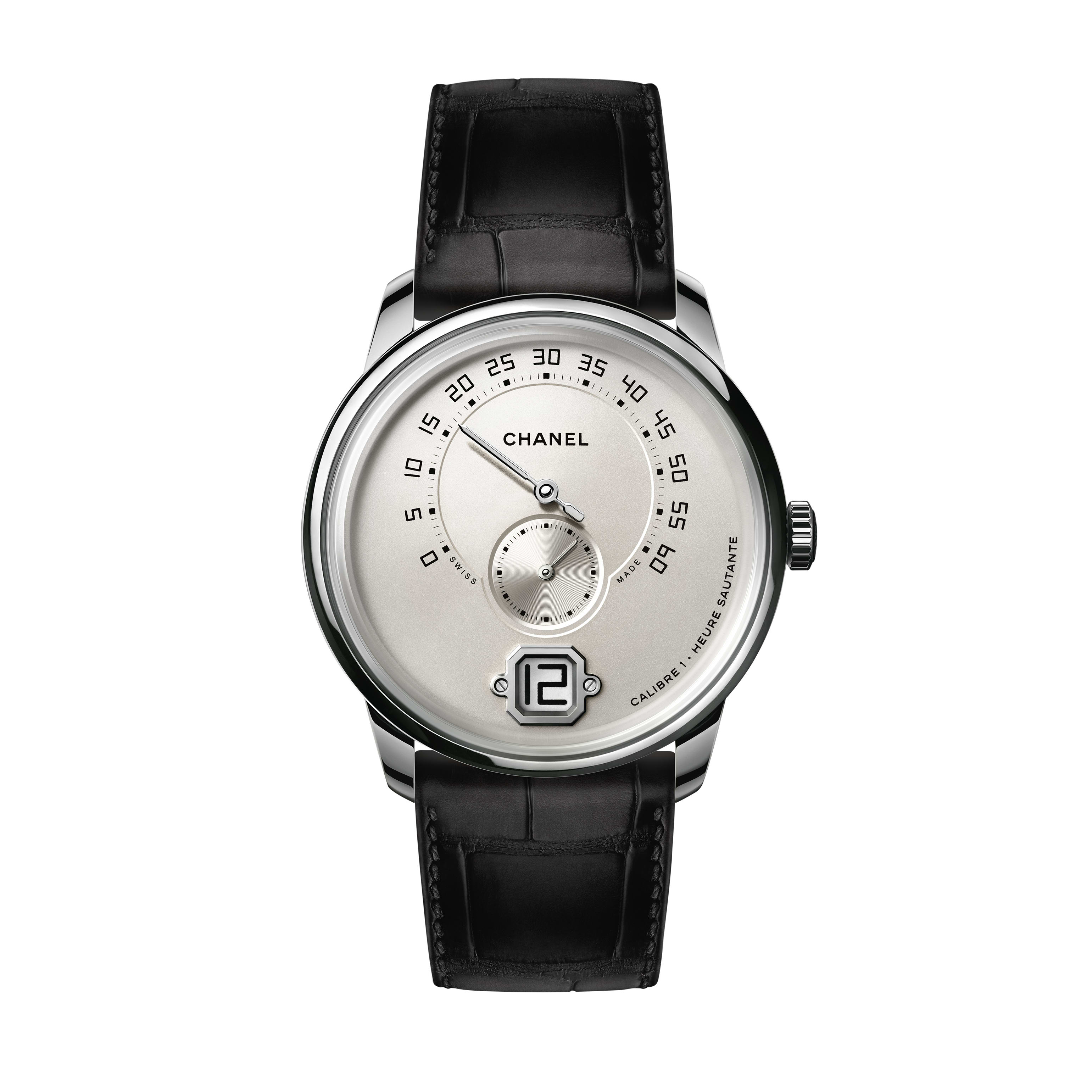 Monsieur Watch - white gold opaline with jumping hour, 240° retrograde minute and small second counter - CHANEL - Default view - see standard sized version