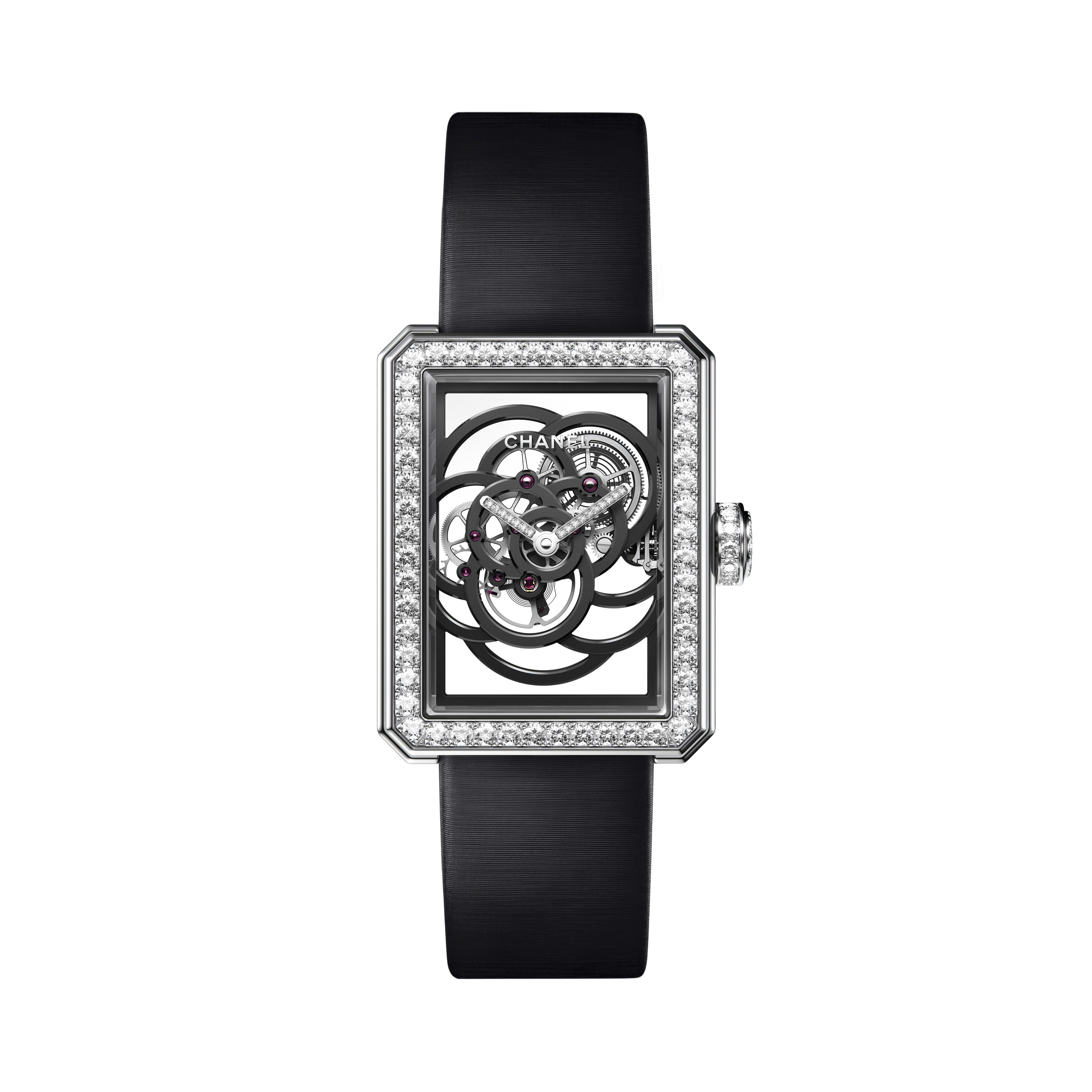 Première Camélia Skeleton - White gold, case, bezel, hands and crown set with brilliant cut diamonds - CHANEL - Default view - see standard sized version