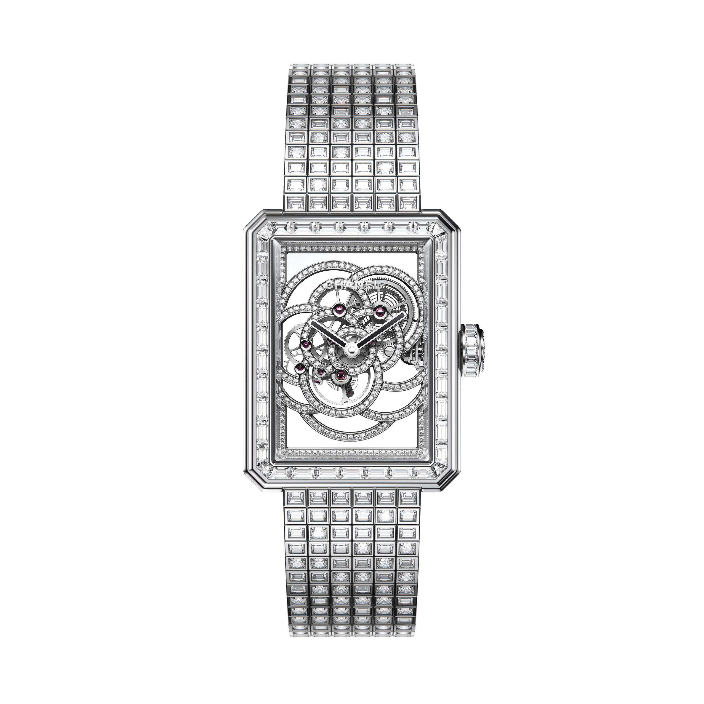 Reloj Première Camélia Skeleton - Oro blanco, caja, bisel, esqueleto, corona y pulsera engastados con diamantes - CHANEL - Vista por defecto - ver la versión tamaño estándar