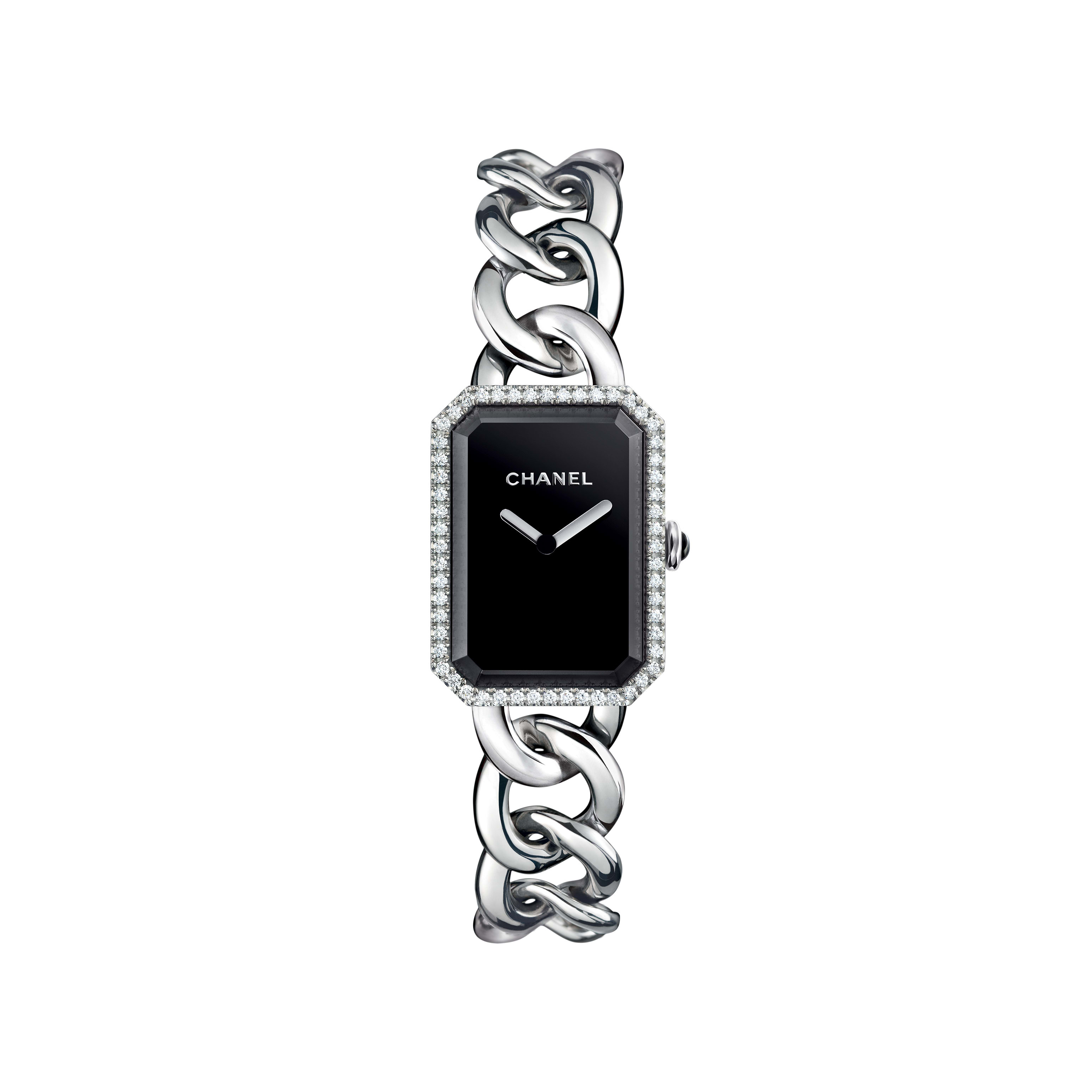 Première Chaîne - Large version, steel and diamonds, black dial - CHANEL - Default view - see standard sized version
