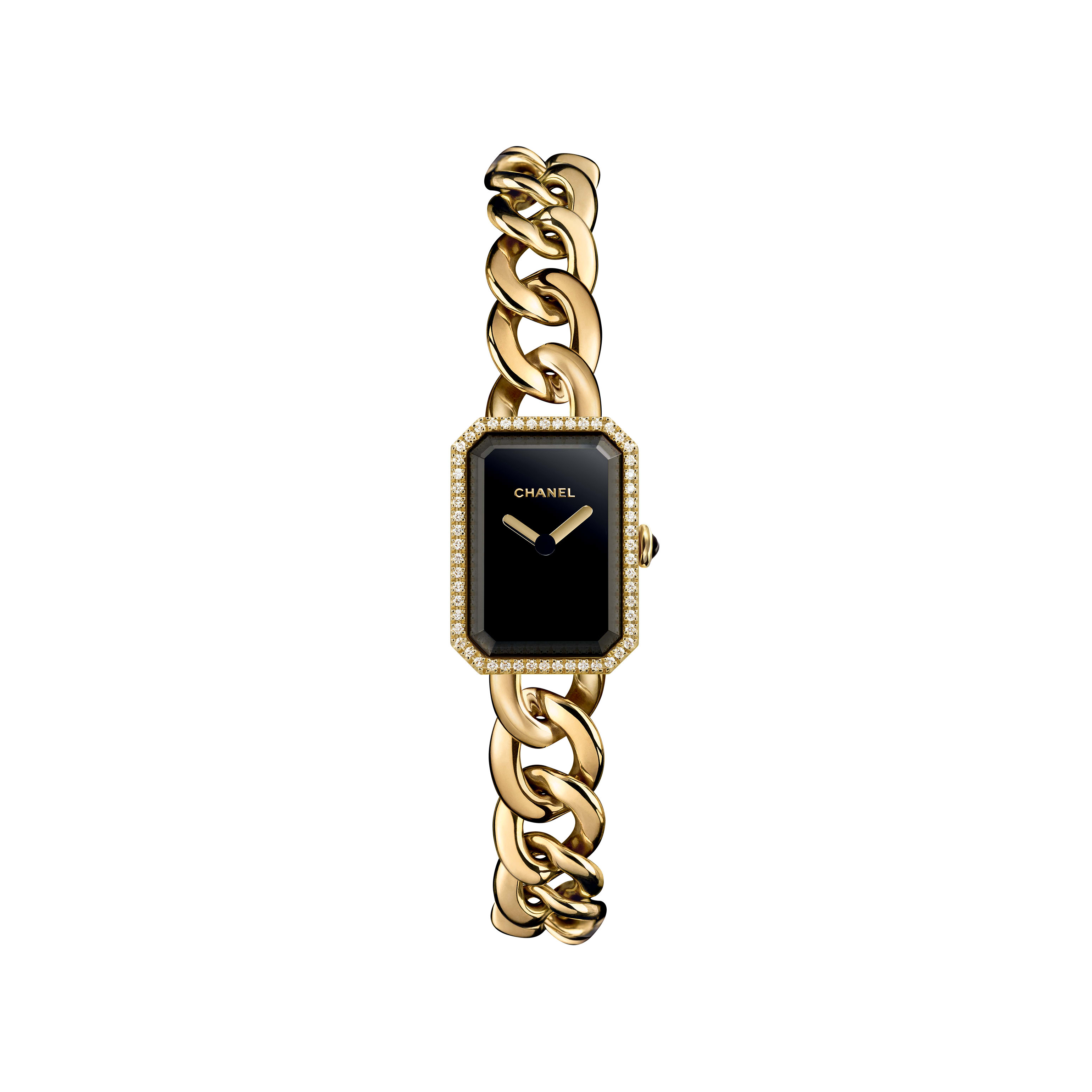 Première Chaîne - Small version, yellow gold and diamonds, black dial - CHANEL - Default view - see standard sized version