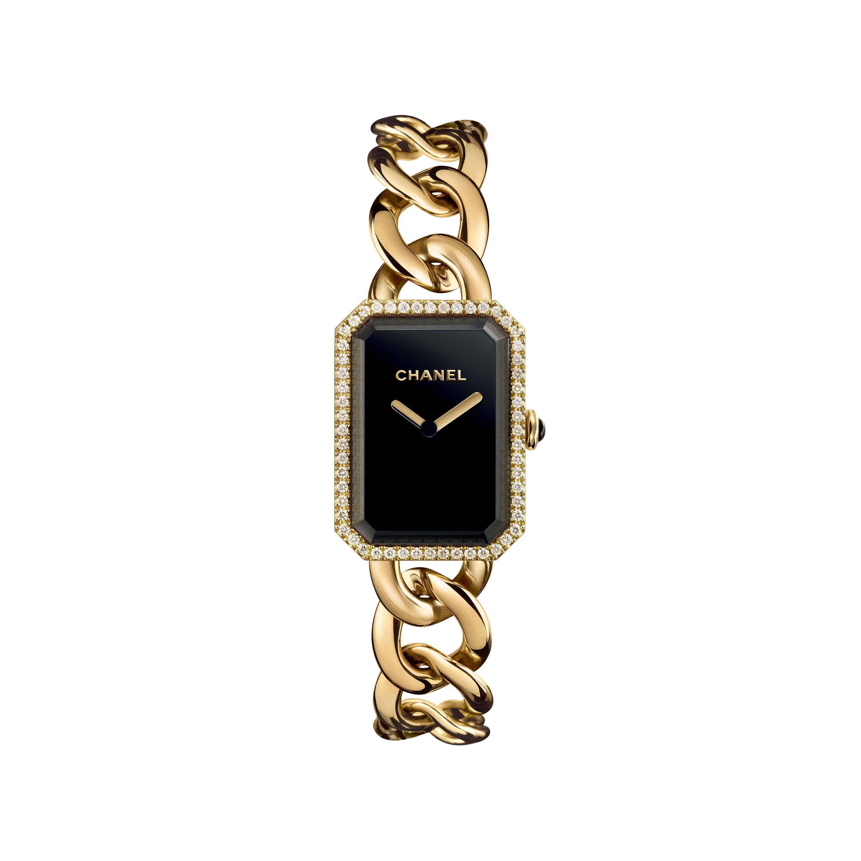 Reloj Première Cadena - Modelo grande, oro amarillo y diamantes, esfera negra - CHANEL - Vista por defecto - ver la versión tamaño estándar