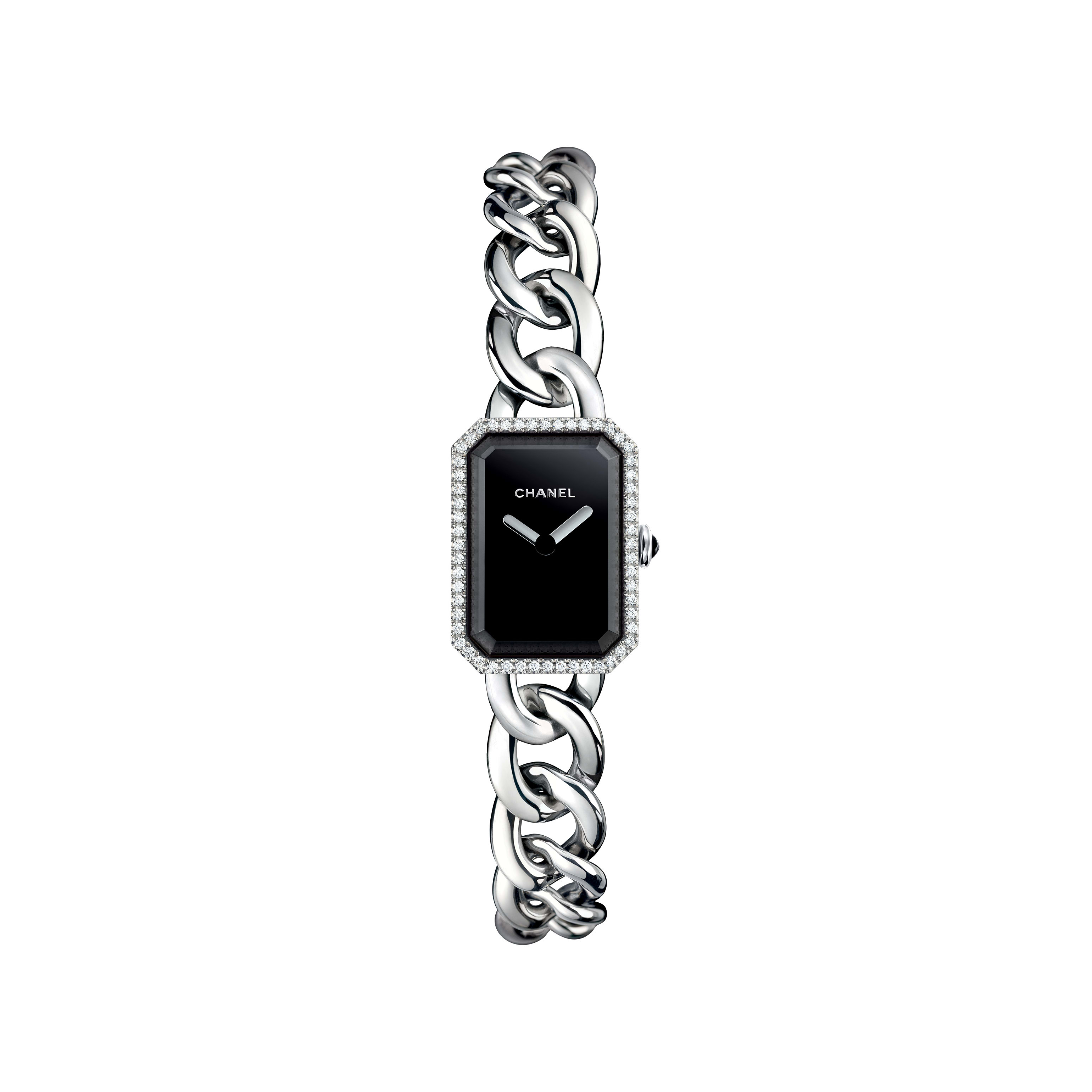 Première Chaîne - Small version, steel and diamonds, black dial - CHANEL - Default view - see standard sized version