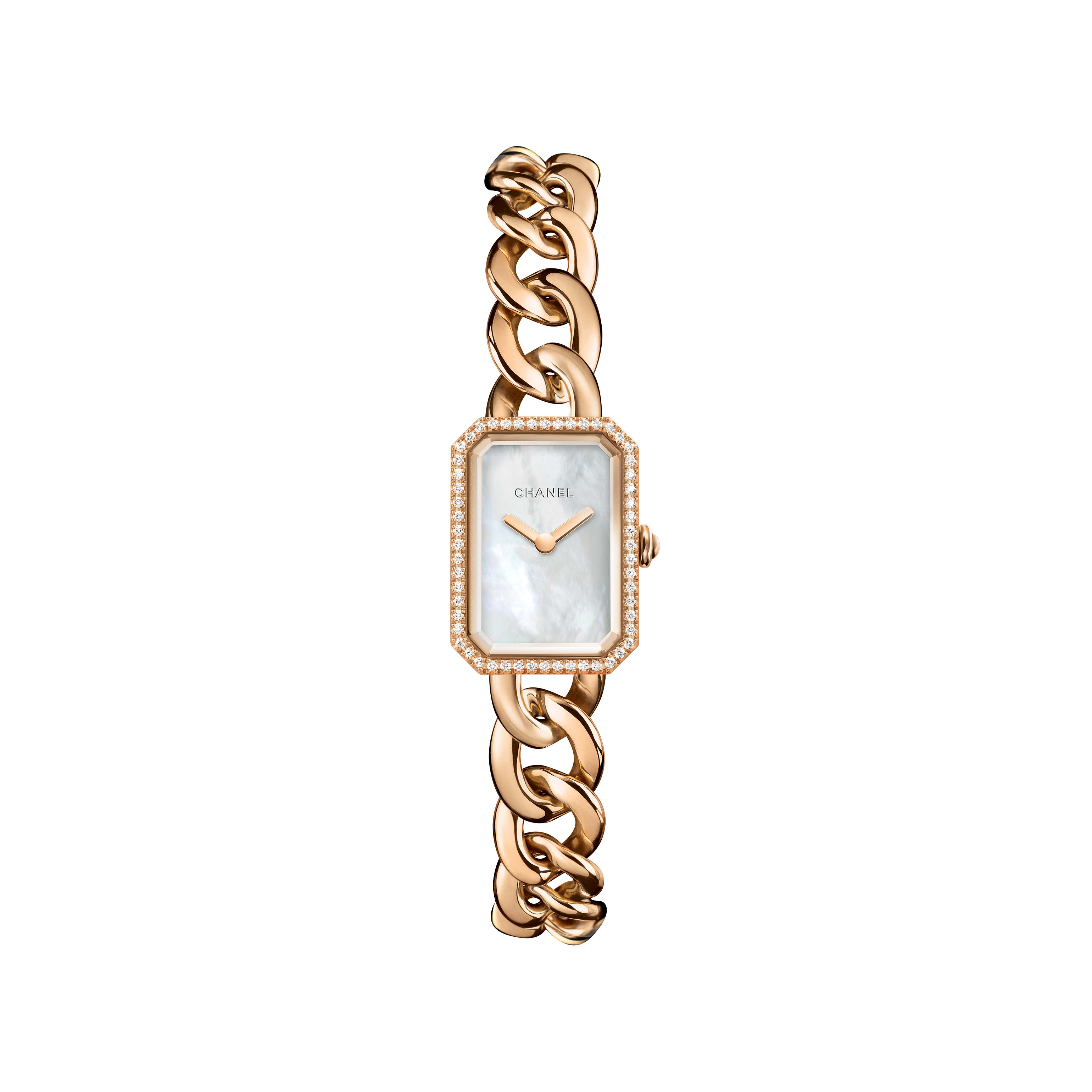 Première Chaîne - Small version, BEIGE GOLD and diamonds, white mother-of-pearl dial - CHANEL - Default view - see standard sized version