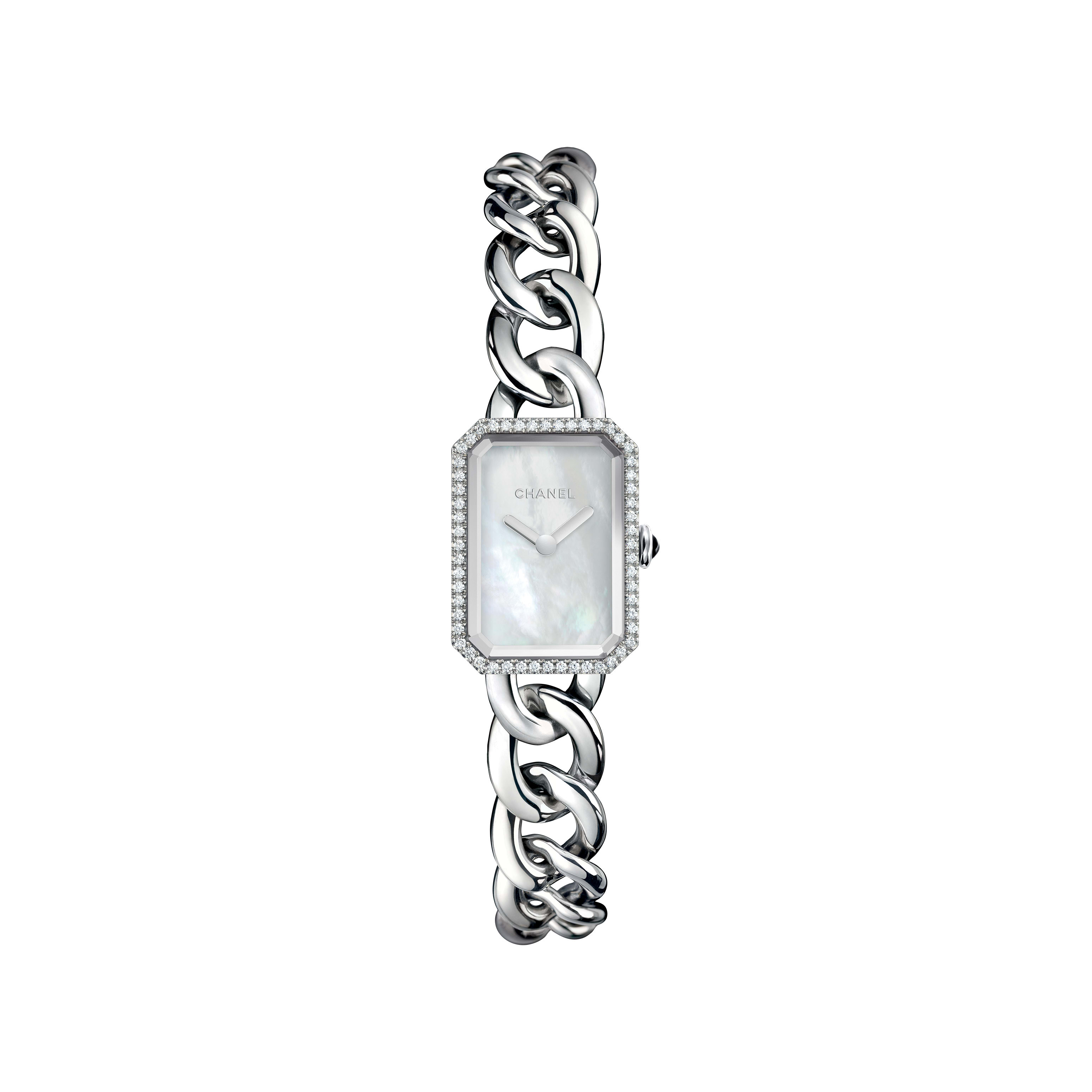Première Chaîne - Small version, steel and diamonds, white mother-of-pearl dial - CHANEL - Default view - see standard sized version