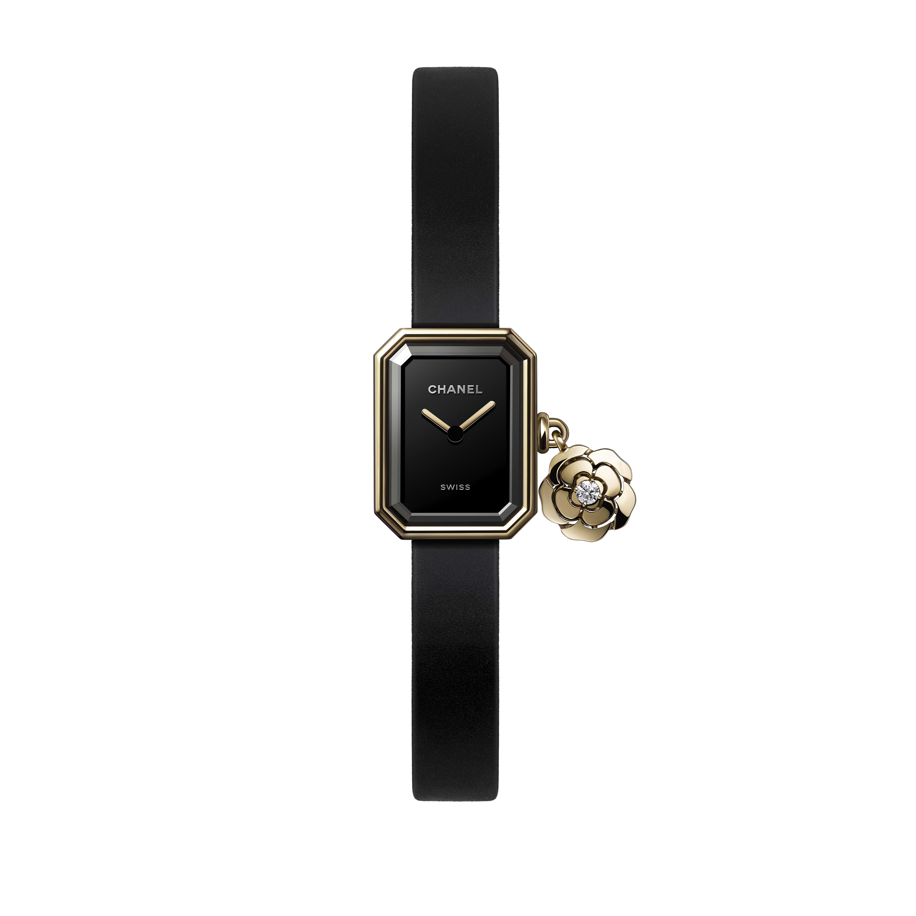 Première Extrait de Camélia Watch - Yellow gold and titanium, black rubber with velvet touch, black-lacquered dial - CHANEL - Default view - see standard sized version