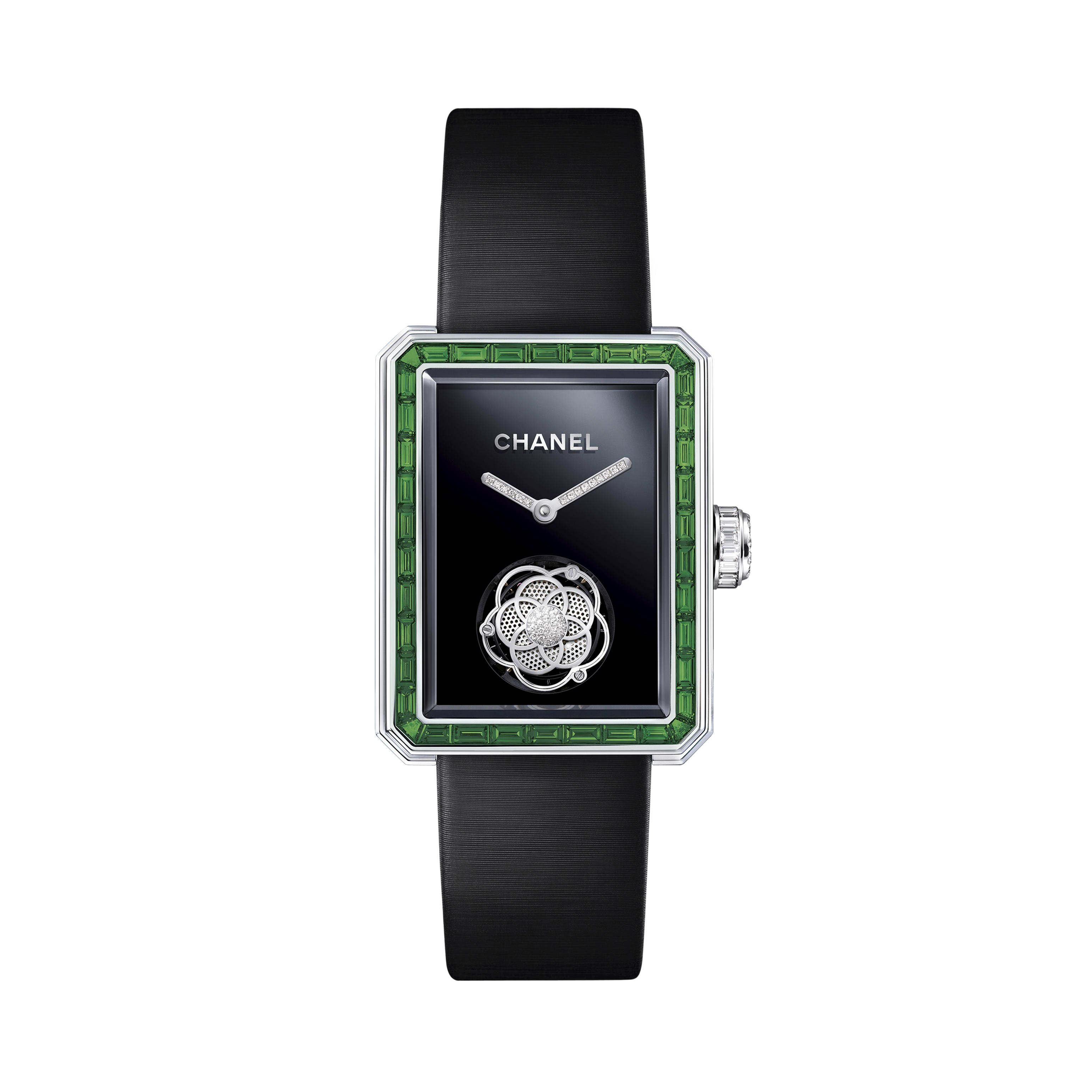 Première Flying Tourbillon Watch - White gold, case and bezel set with baguette-cut emeralds and diamonds - CHANEL - Default view - see standard sized version