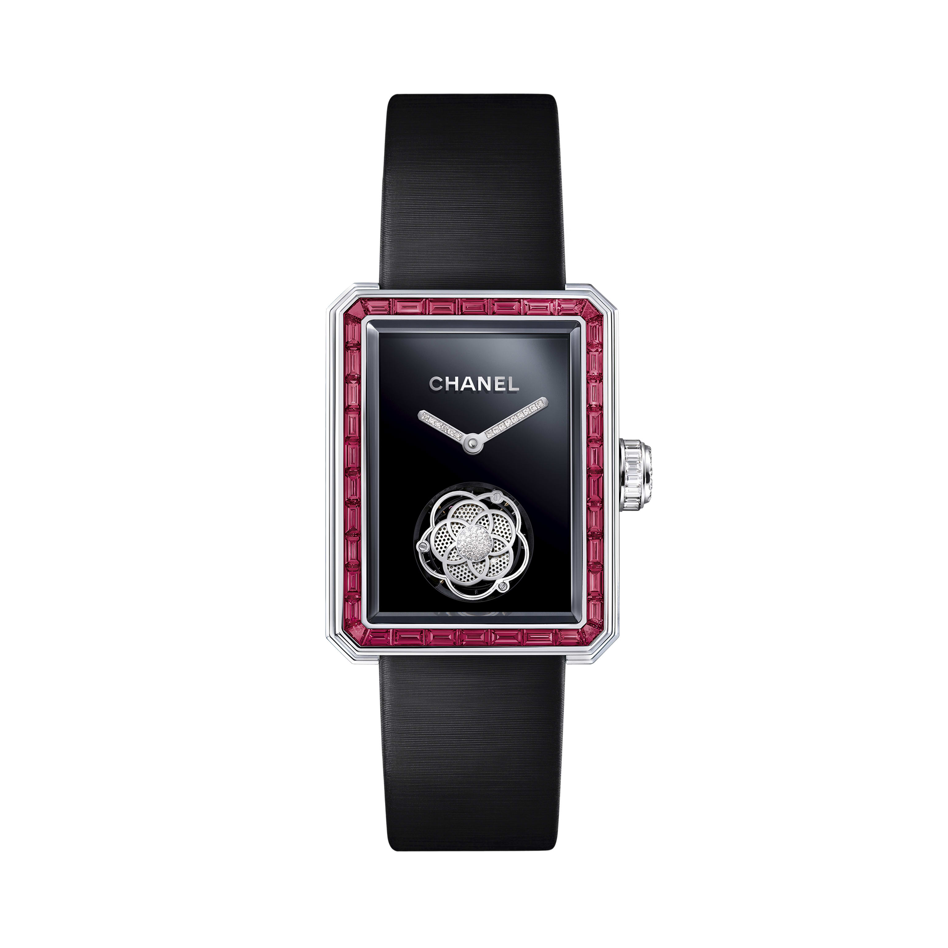 Première Flying Tourbillon Watch - White gold, case and bezel set with baguette-cut rubies and diamonds - CHANEL - Default view - see standard sized version