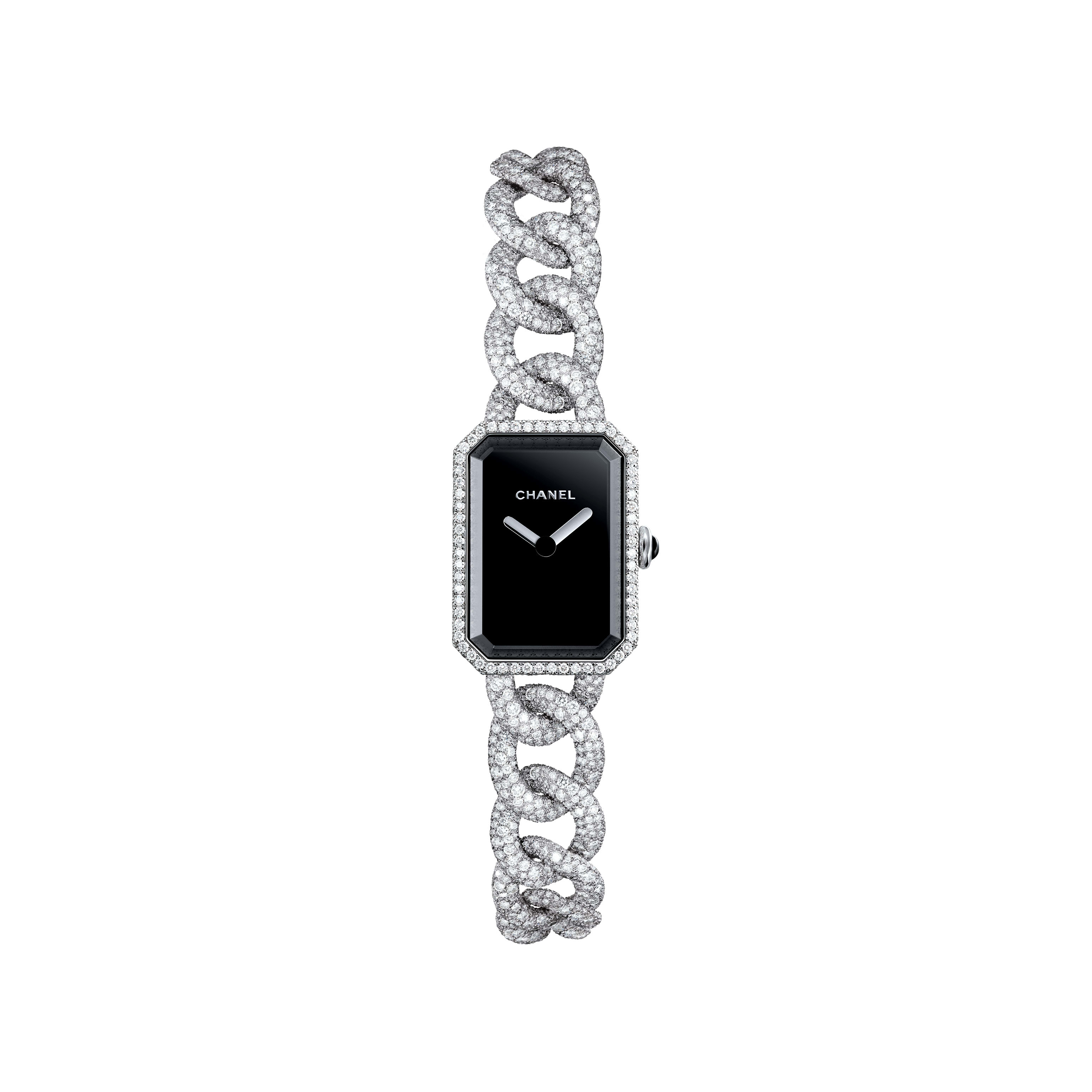 Première Jewellery Watch - Small version, white gold and diamonds set snow, black dial - CHANEL - Default view - see standard sized version