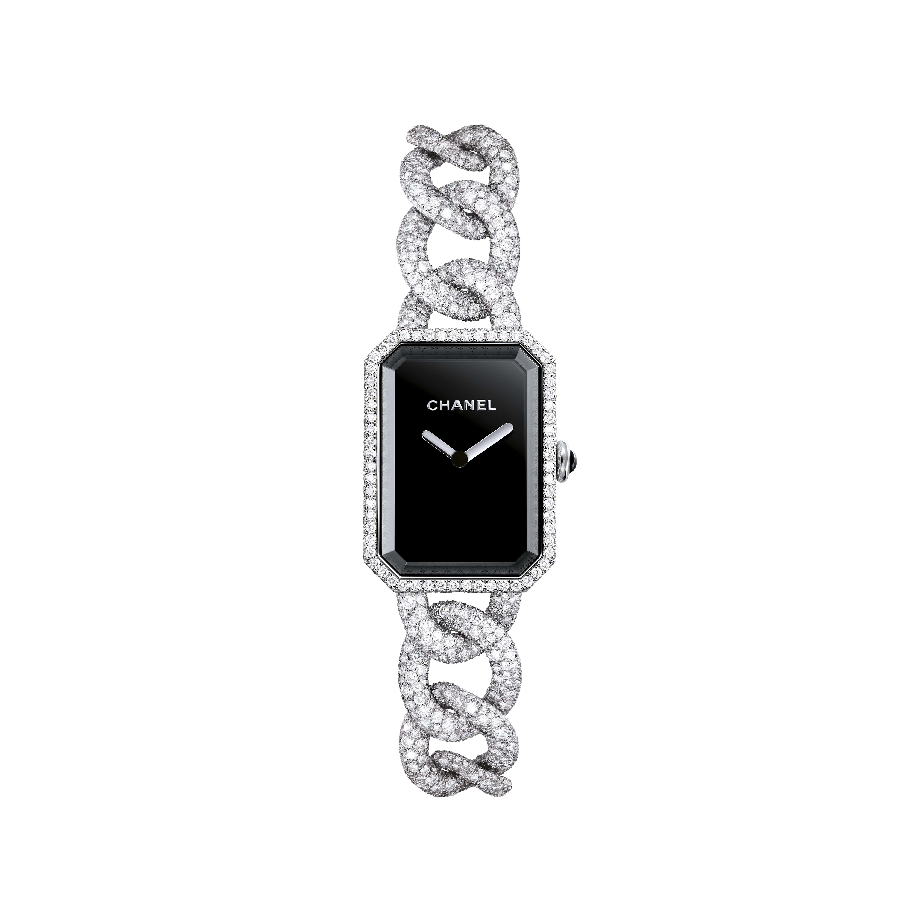 Première Jewellery Watch - Large version, white gold and diamonds set snow, black dial - CHANEL - Default view - see standard sized version