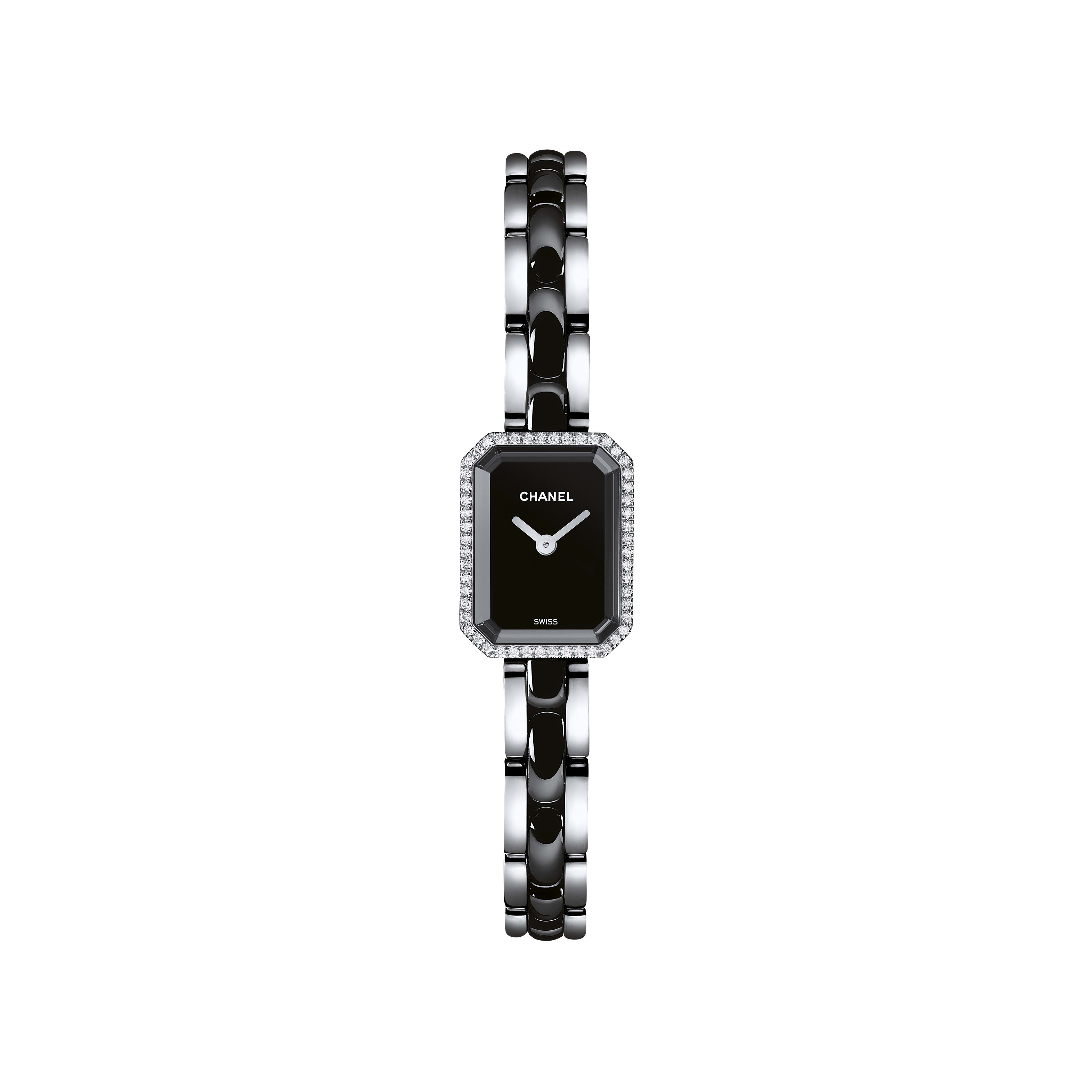 Première Mini - Steel and black highly resistant ceramic, diamonds, black lacquer dial - CHANEL - Default view - see standard sized version