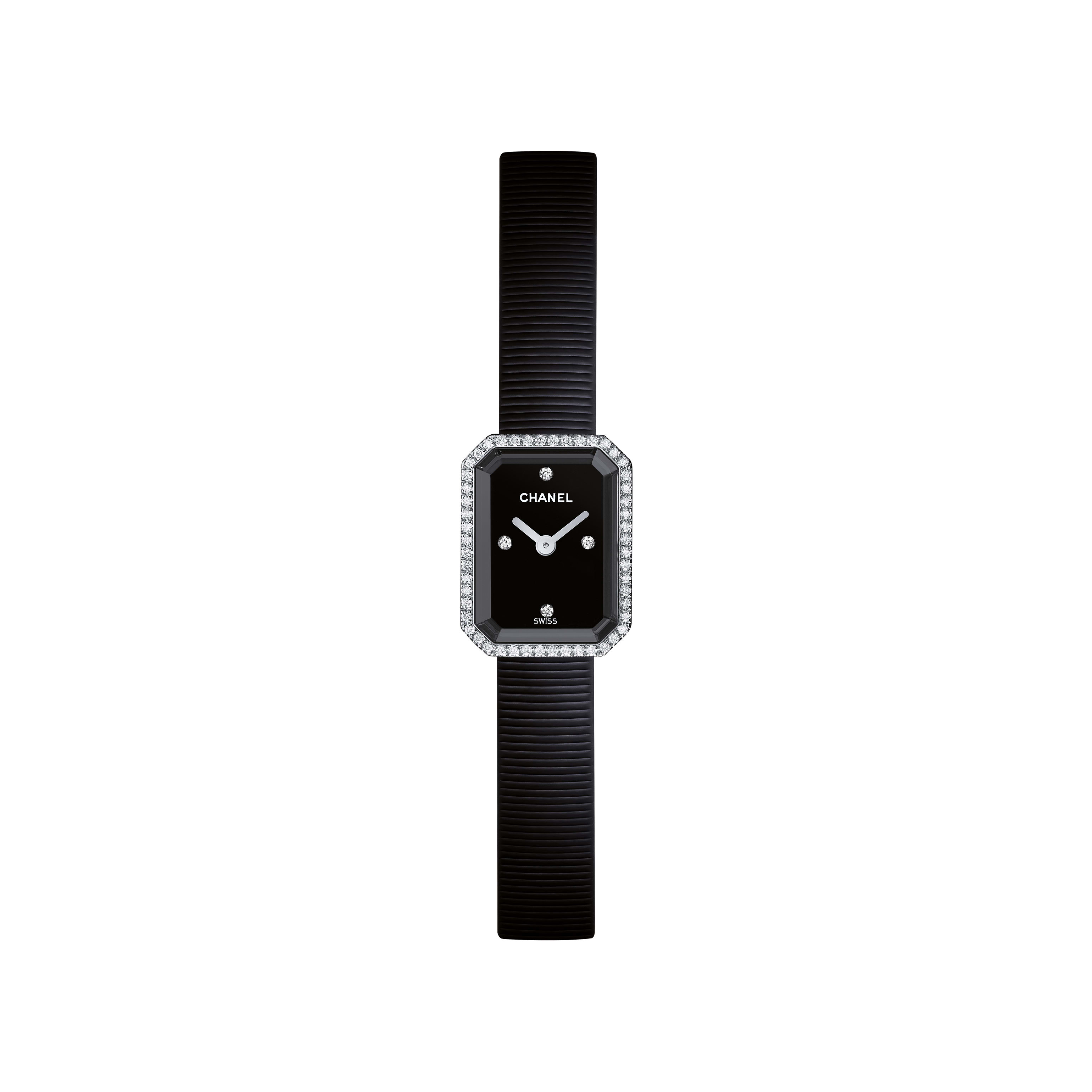 Première Mini - Steel and black rubber, diamonds, black dial - CHANEL - Default view - see standard sized version