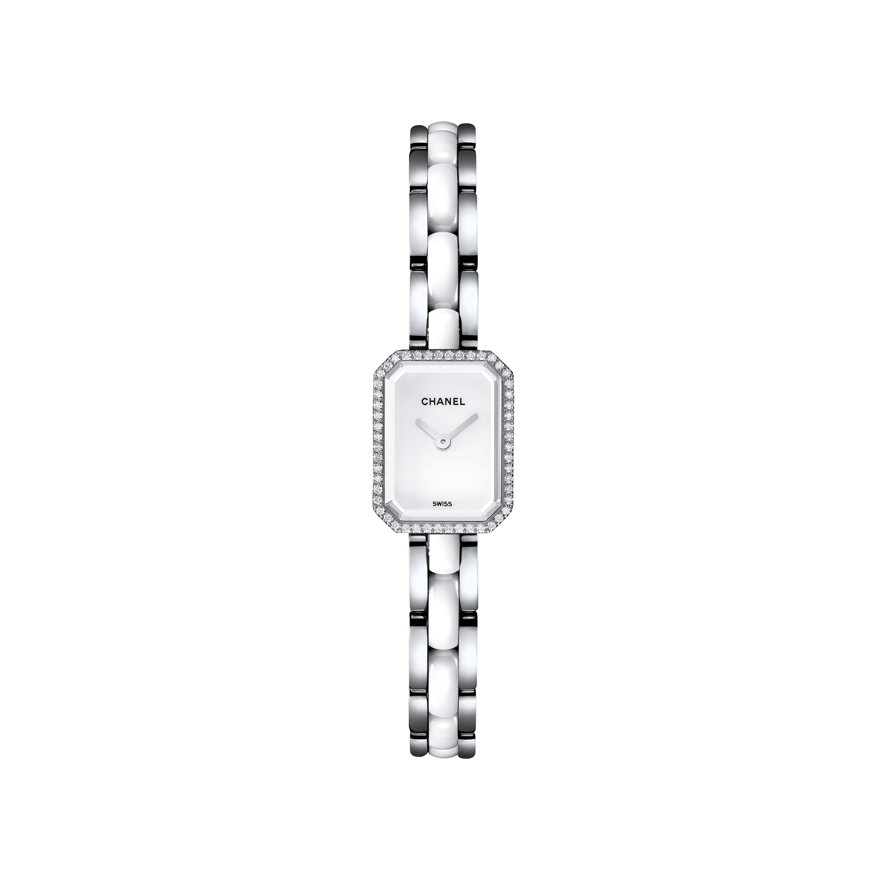 Première Mini - Steel and white highly resistant ceramic, diamonds, white lacquer dial - Default view - see standard sized version