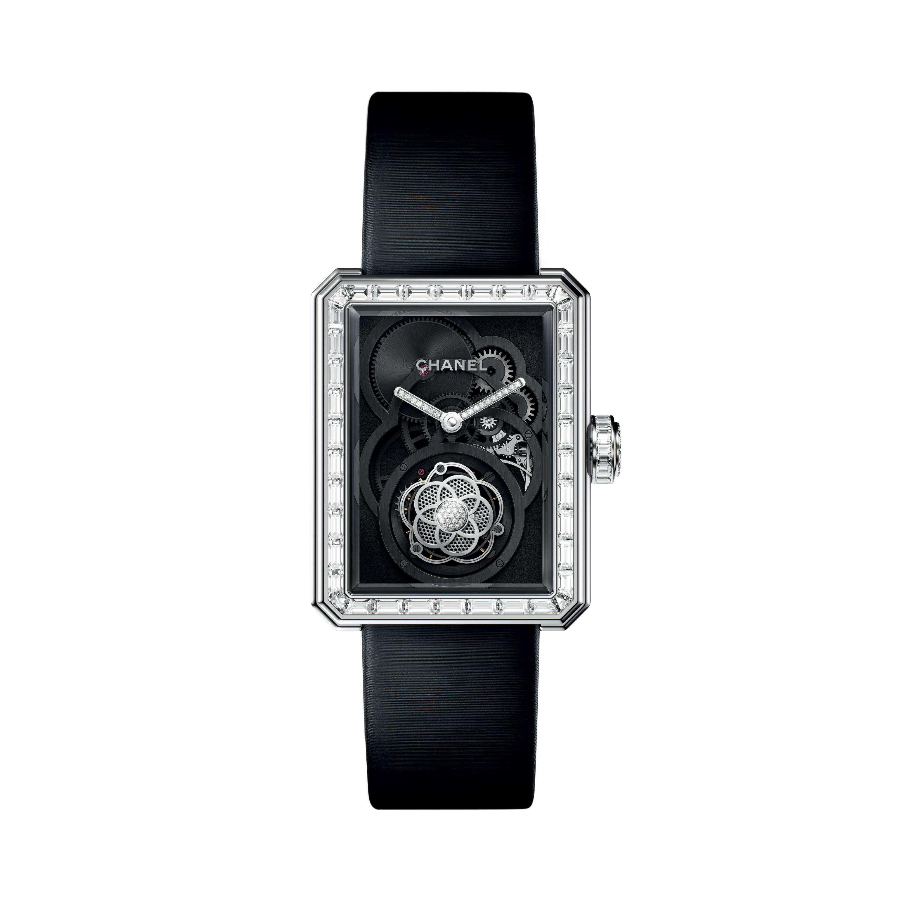 Première Flying Tourbillon Openwork - White gold, case, bezel and crown set with baguette and brilliant cut diamonds - CHANEL - Default view - see standard sized version