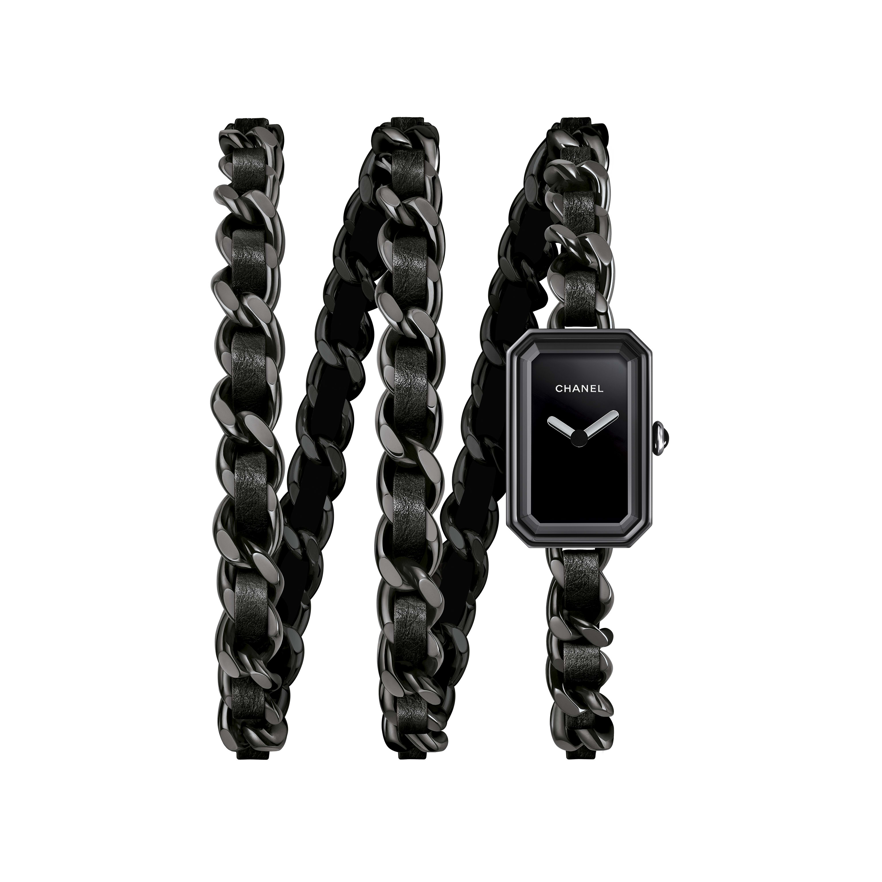 Première Rock Watch - Steel with black coating and black leather triple row bracelet, black lacquer dial - Default view - see standard sized version