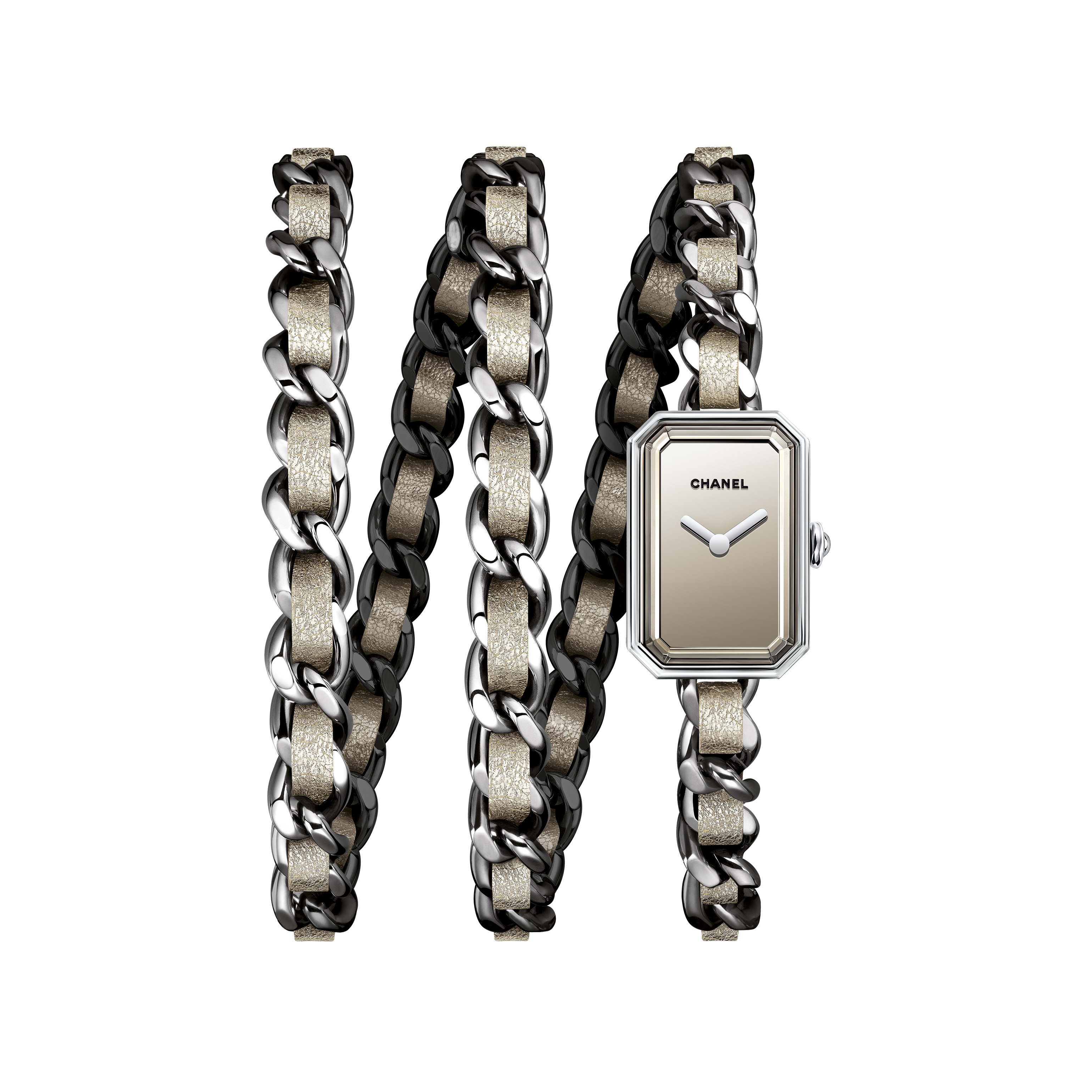 Première Rock Watch - Steel and golden fabric triple row bracelet, mirrored dial - Default view - see standard sized version