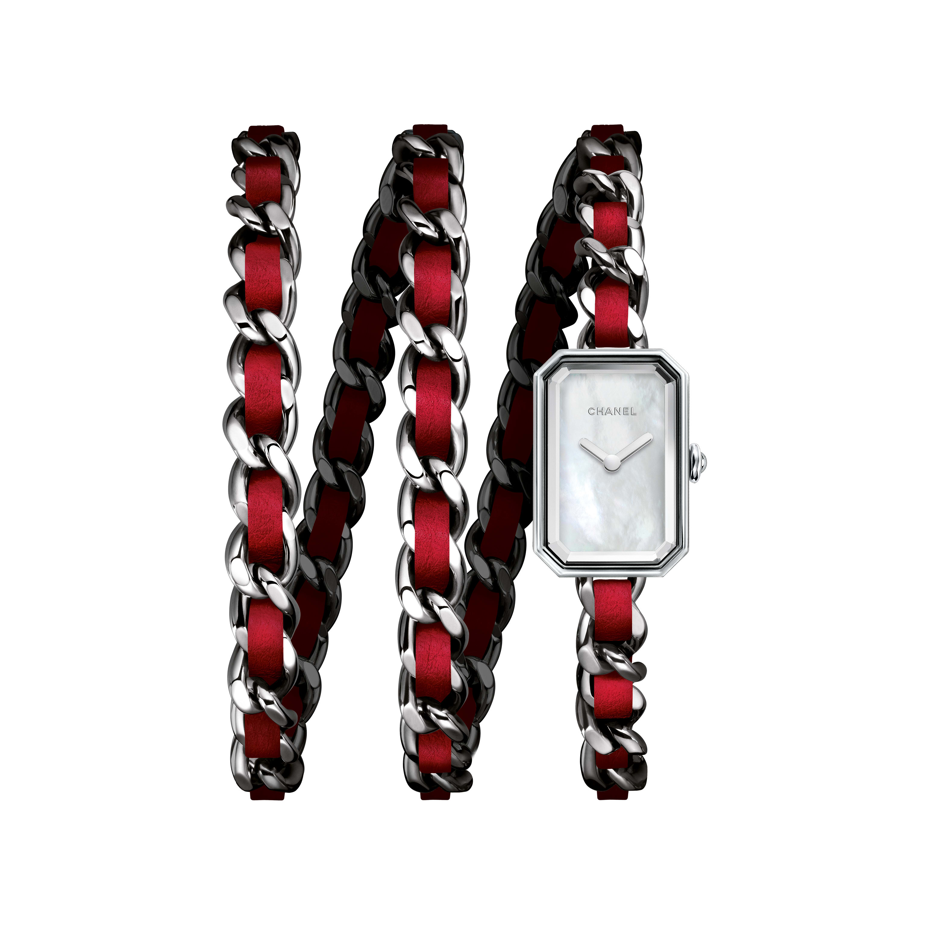 Première Rock - Triple row in steel and red leather, white mother-of-pearl dial - CHANEL - Default view - see standard sized version