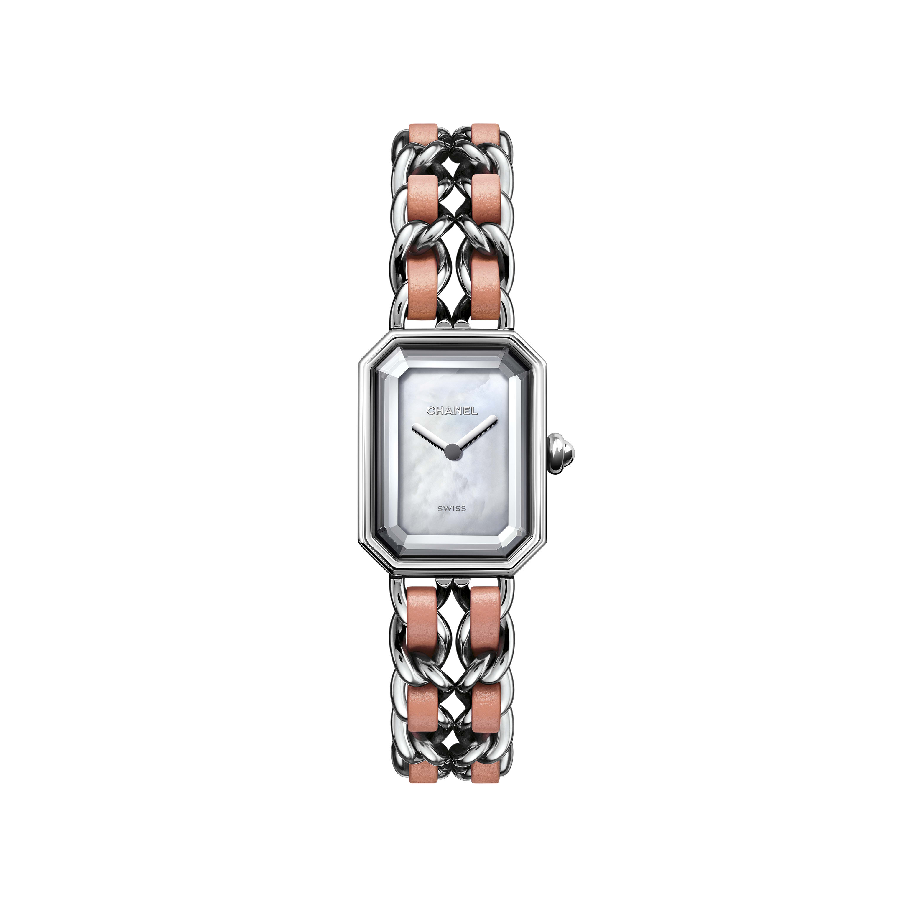 Première Rock Watch - Steel and pink leather, white mother-of-pearl dial - CHANEL - Default view - see standard sized version