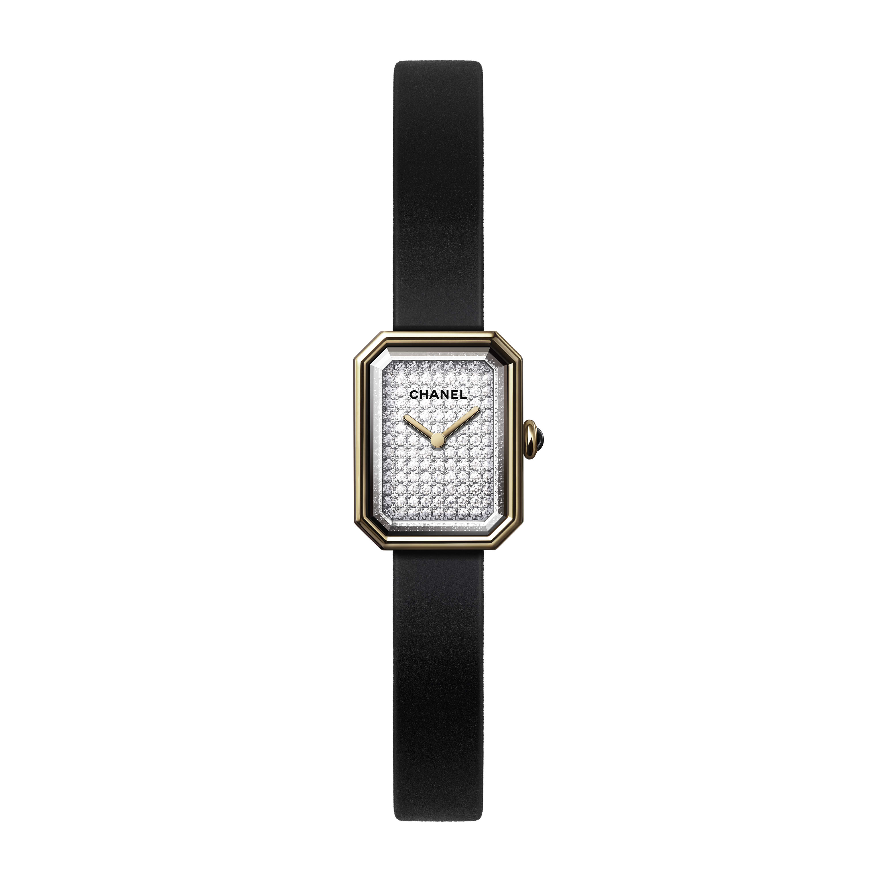 Première Velours Watch - Yellow gold and titanium, black rubber strap with velvet touch, dial set with brilliant-cut diamonds - CHANEL - Default view - see standard sized version