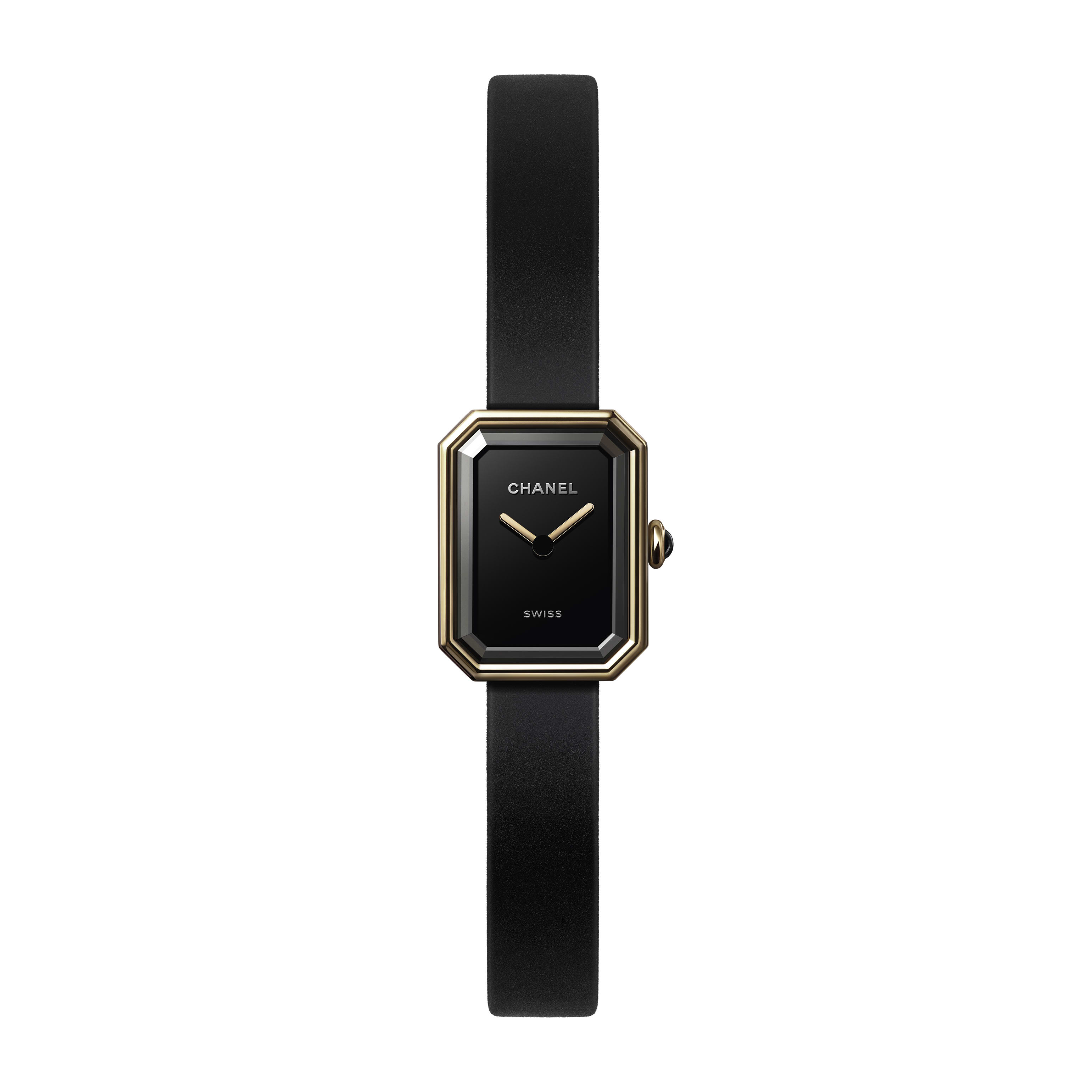 Première Velours Watch - Yellow gold and titanium, black rubber strap with velvet touch, black-lacquered dial - CHANEL - Default view - see standard sized version