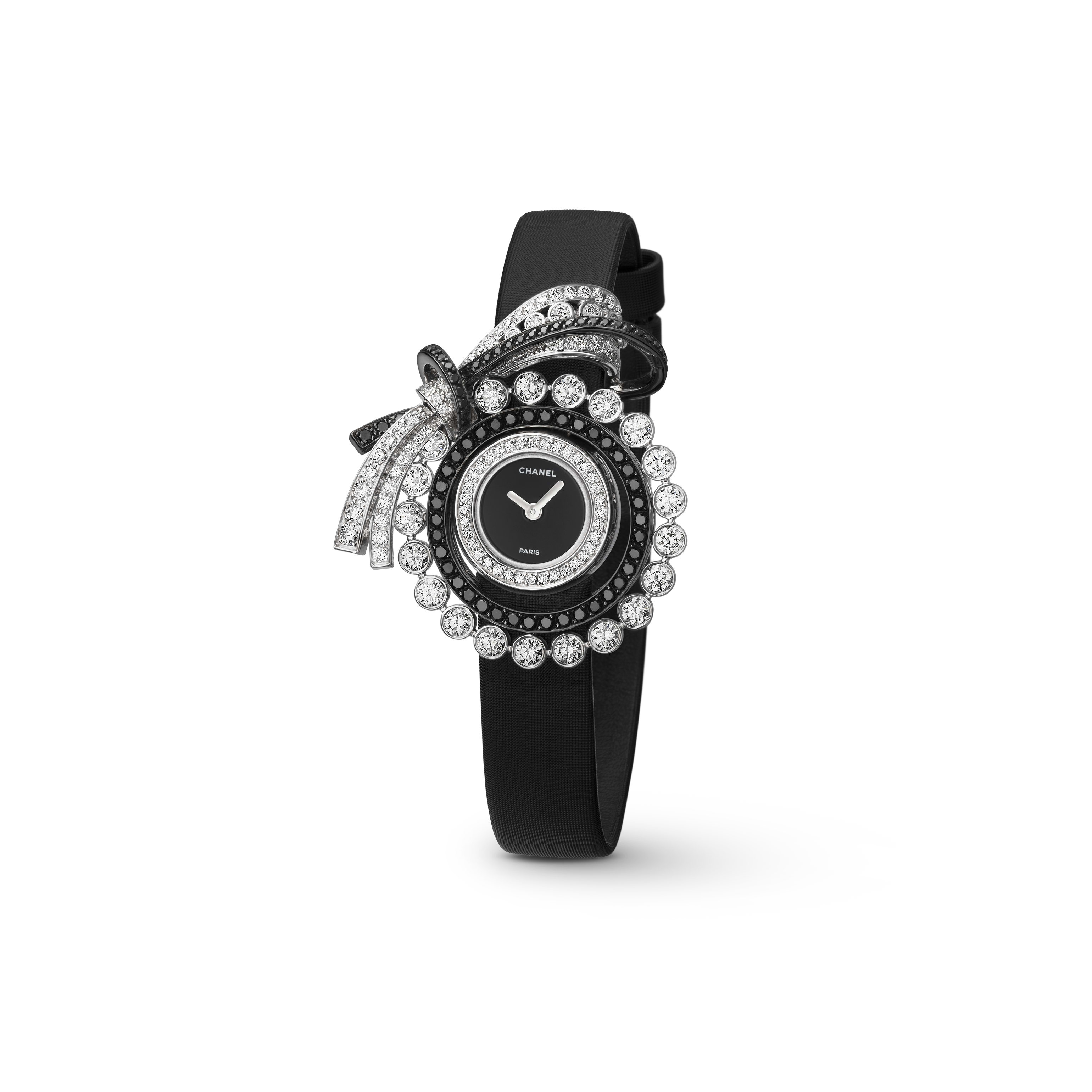 Ruban Jewellery Watch - Ruban motif in 18K white gold and black and white diamonds - CHANEL - Default view - see standard sized version
