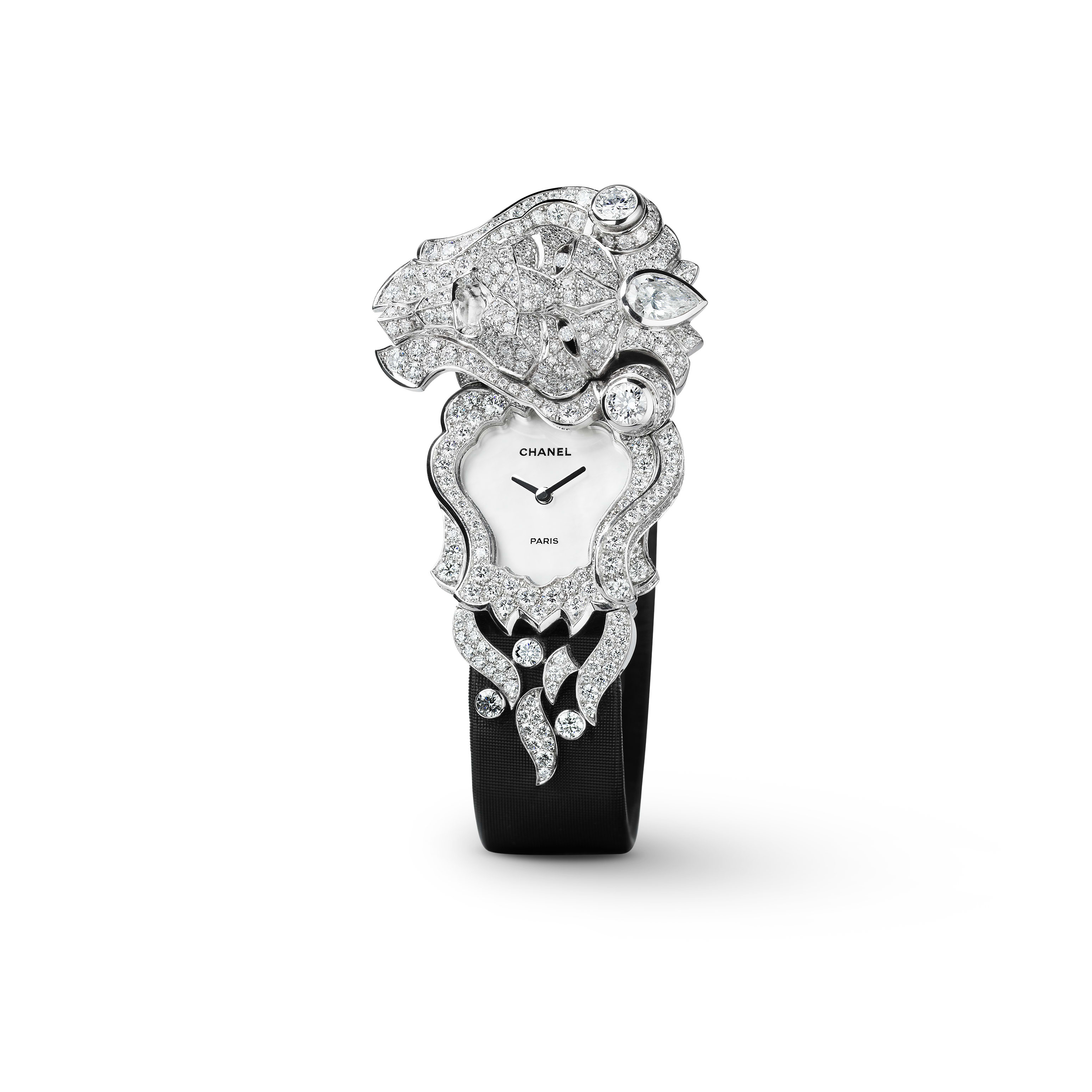 Sous le Signe du Lion Jewellery Watch - Secret watch with lion motif in 18K white gold and diamonds - CHANEL - Default view - see standard sized version