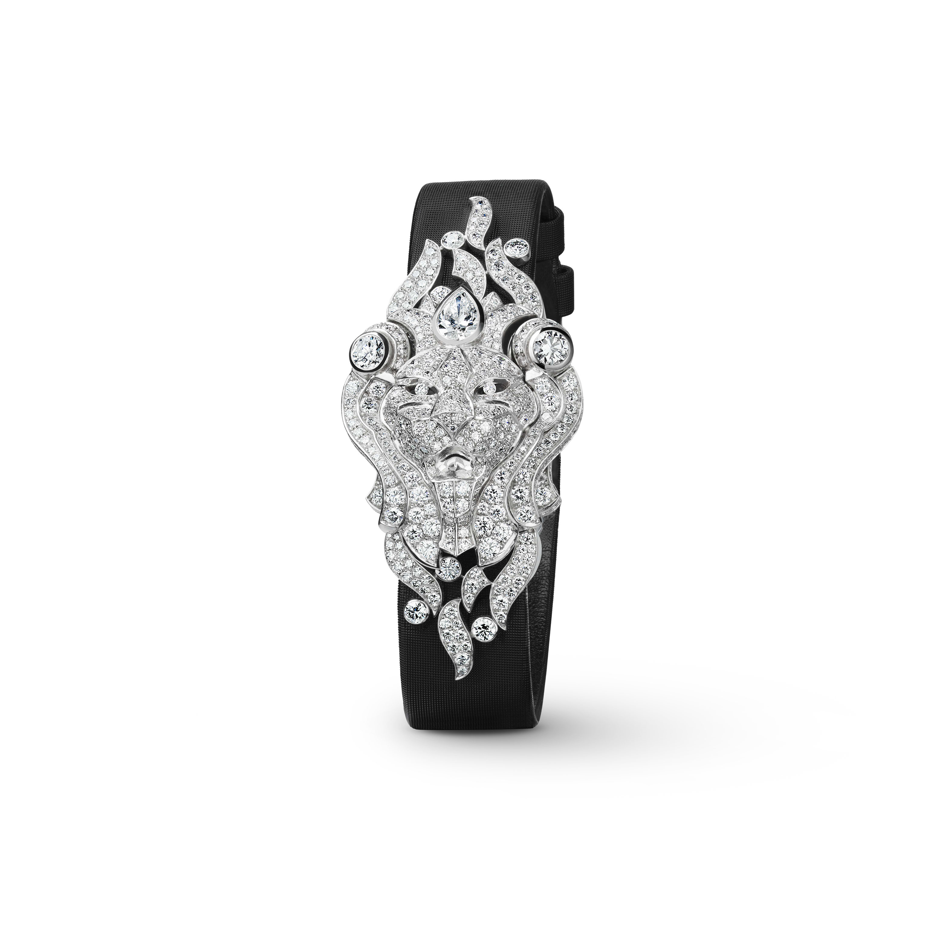 Sous le Signe du Lion Jewellery Watch - Secret watch with lion motif in 18K white gold and diamonds - CHANEL - Other view - see standard sized version