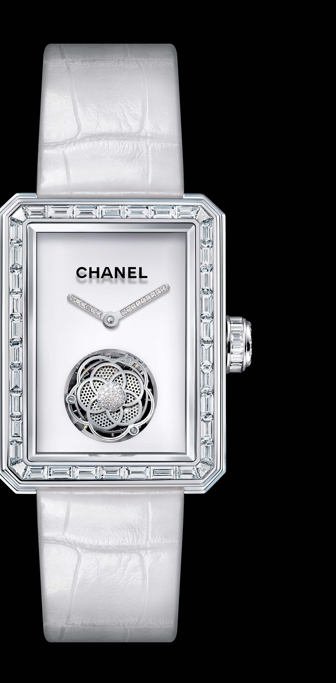 Première Flying Tourbillon watch in 18K white gold, case, bezel and crown set with baguette- and brilliant-cut diamonds. - Enlarged view