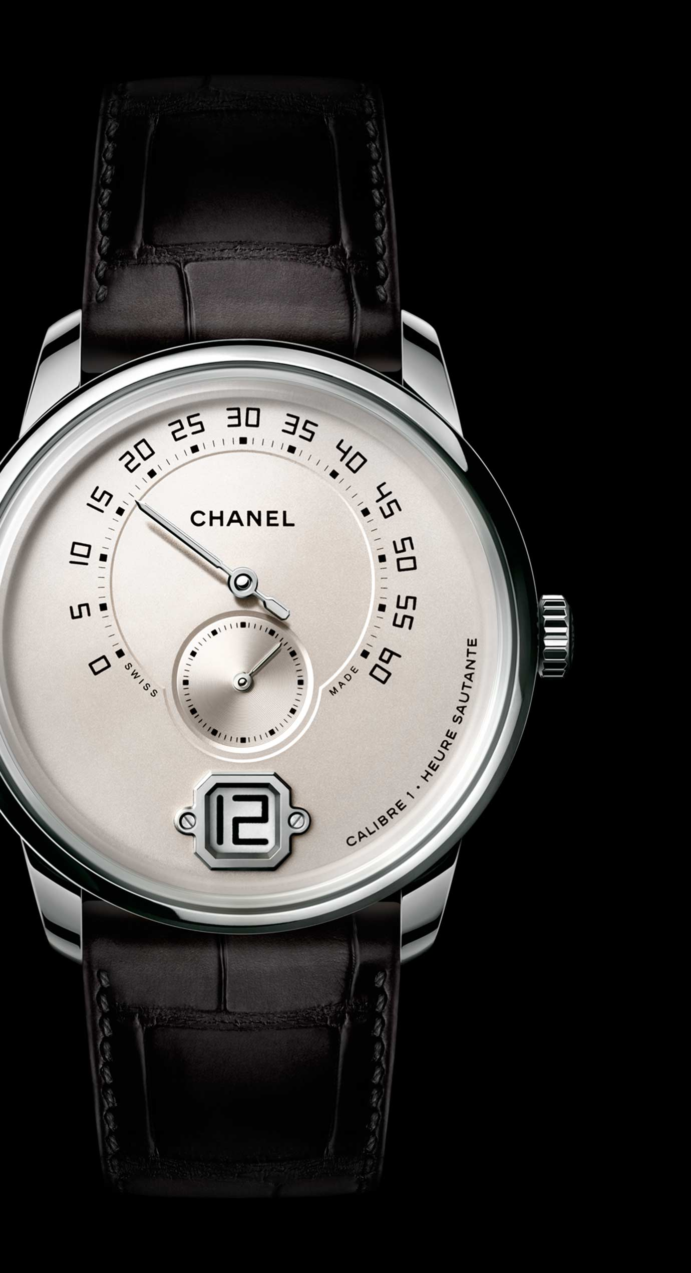 Monsieur watch in 18K white gold, ivory dial with jumping hour, 240° retrograde minutes and small second counter. - Enlarged view
