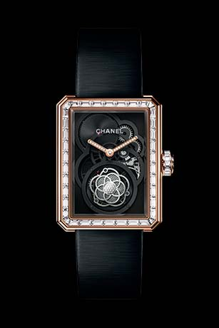 Première Flying Tourbillon Openwork watch in BEIGE GOLD, case, bezel and crown set with baguette- and brilliant-cut diamonds.