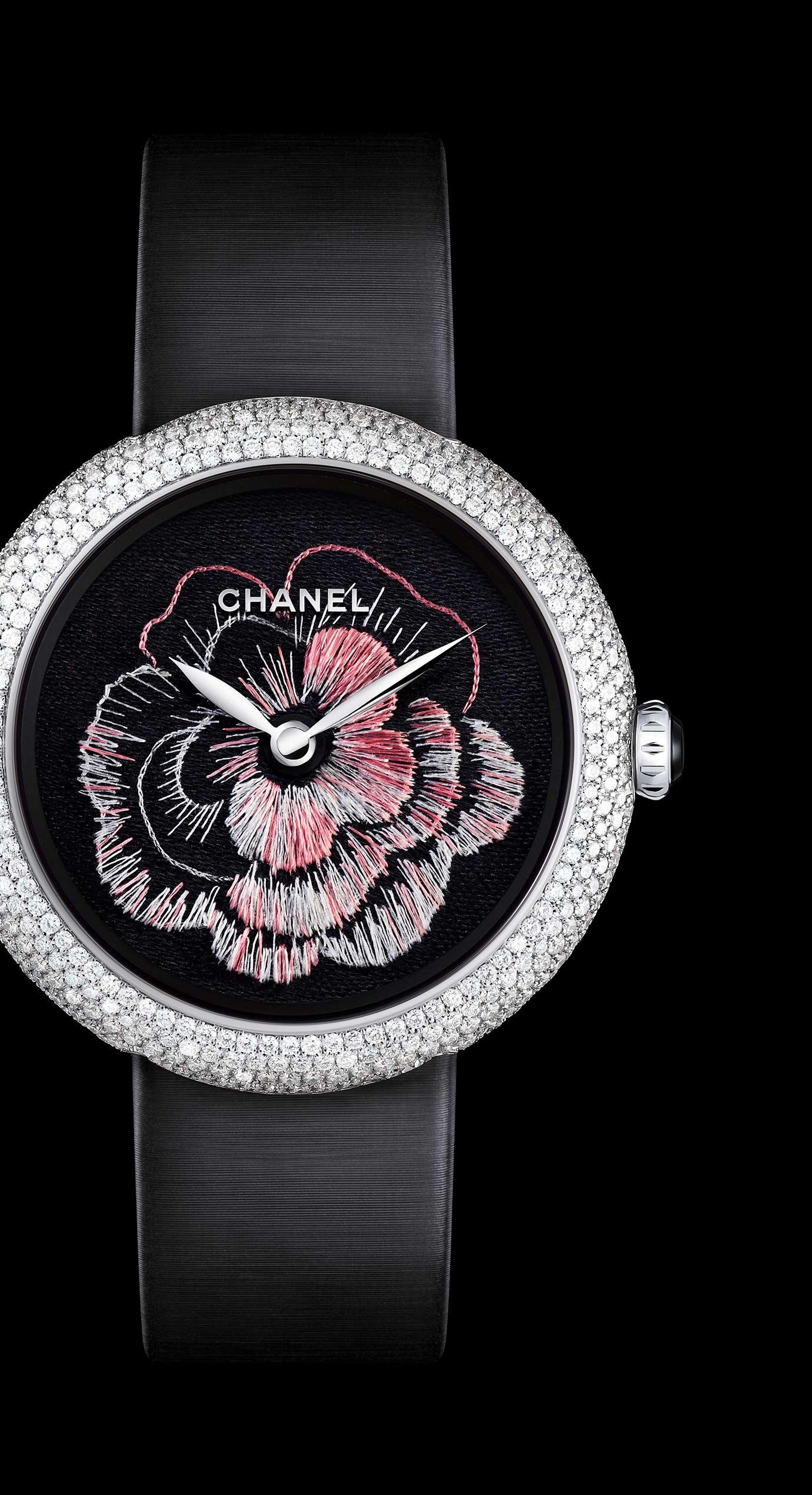 Relojes MADEMOISELLE PRIVÉ en oro de 18 quilates engastados con diamantes - Bordado Lesage - Vista ampliada