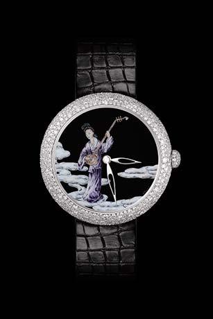 Reloj Mademoiselle Privé Coromandel en oro blanco de 18 quilates engastado con diamantes, realizado según la técnica de la miniatura en esmalte Grand Feu