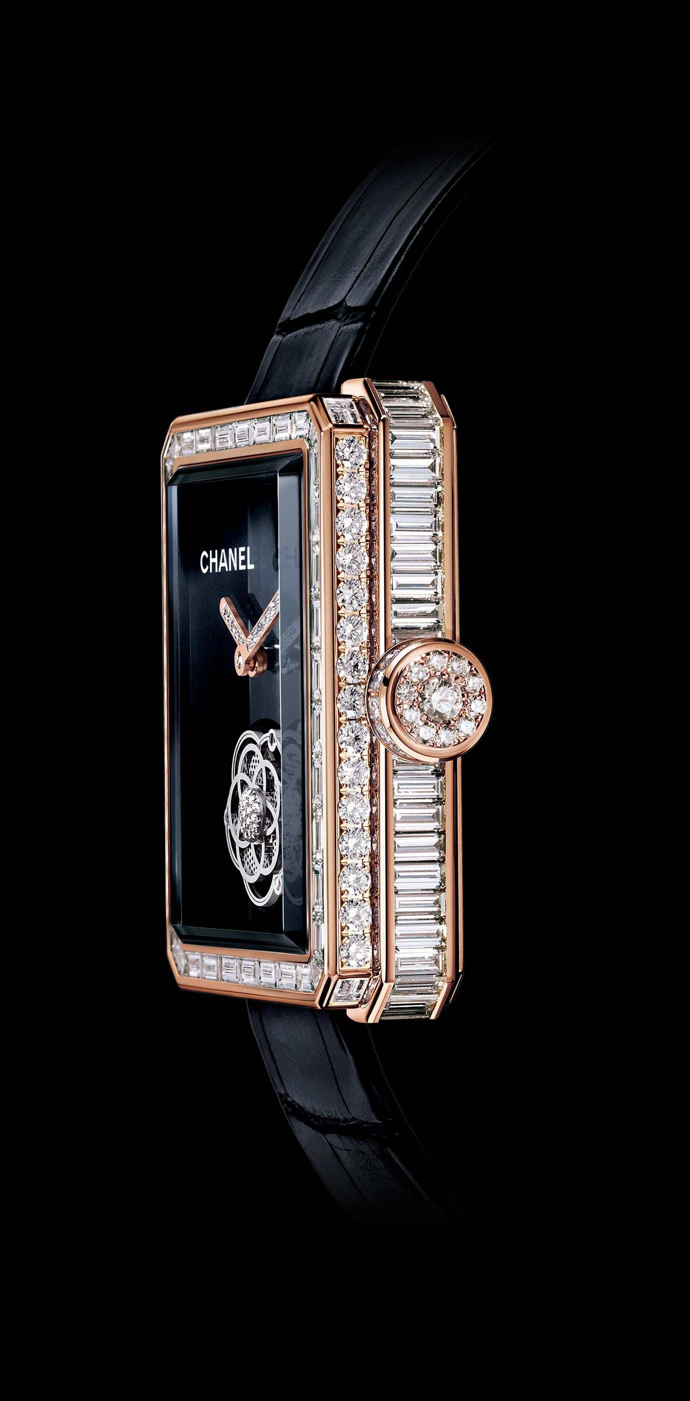 Première Flying Tourbillon watch 18K BEIGE GOLD, case, bezel and crown set with baguette- and brilliant-cut diamonds. Side view. - Enlarged view