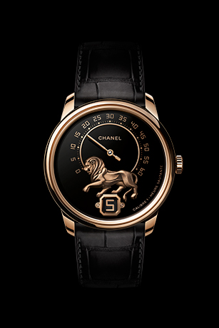 Monsieur Watch, BEIGE GOLD, 'Grand Feu' enamel with gold sculpted lion dial, jumping hour and 240° retrograde minute