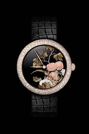 Reloj Mademoiselle Privé Coromandel realizado según la técnica del oro esculpido.