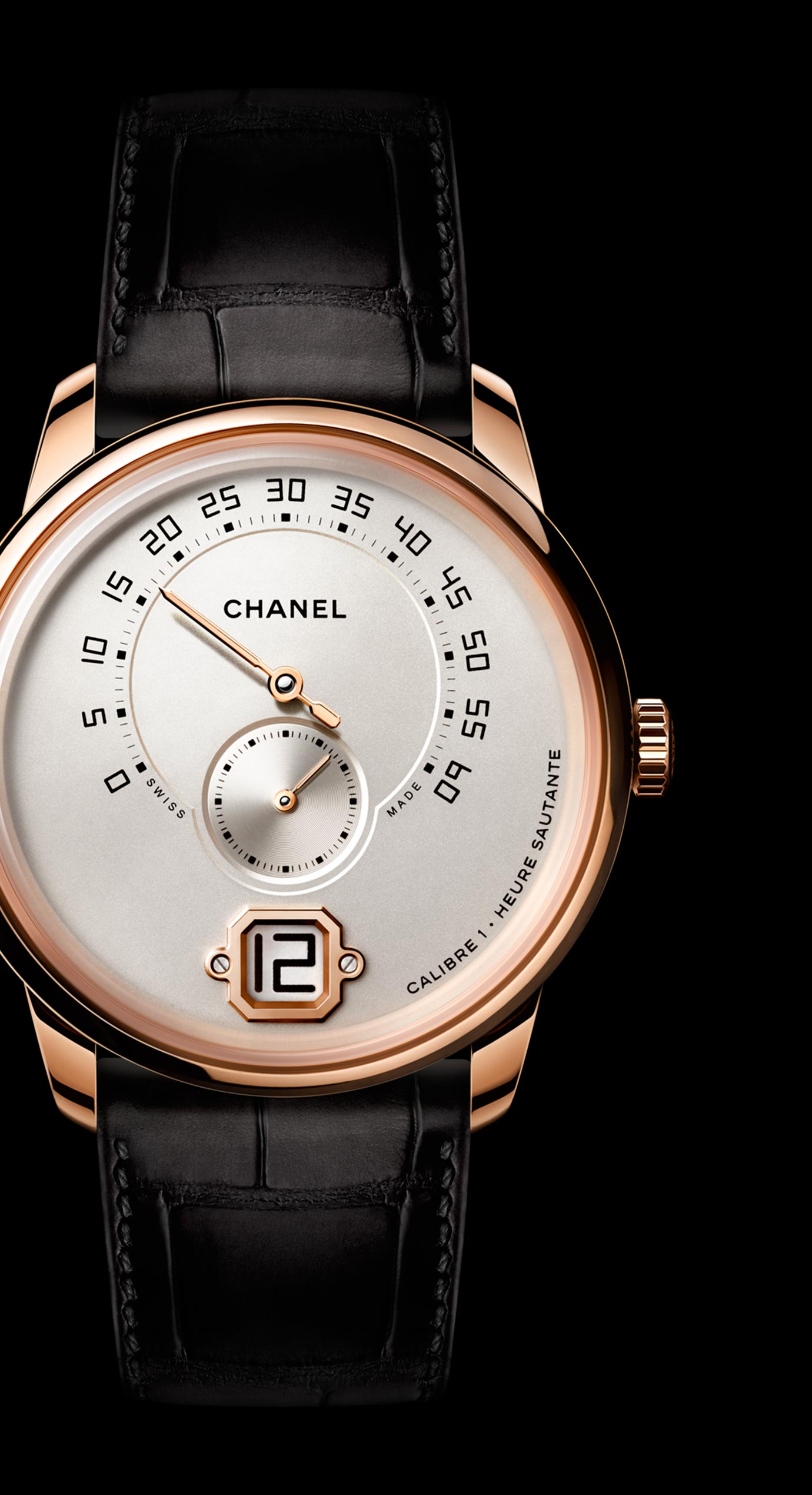 Monsieur de CHANEL watch in 18K BEIGE GOLD, ivory dial with jumping hour, 240° retrograde minutes and small second counter.
