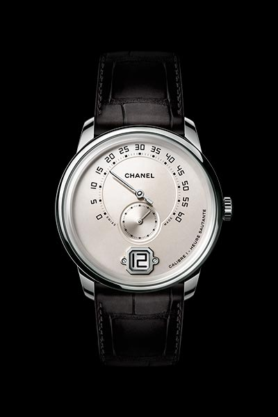 Monsieur de CHANEL watch in 18K white gold, ivory dial with jumping hour, 240° retrograde minutes and small second counter.