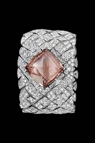 Les Eternelles de CHANEL. Secret cuff watch in 18K white gold. 43.64-carat pink morganite pyramid.