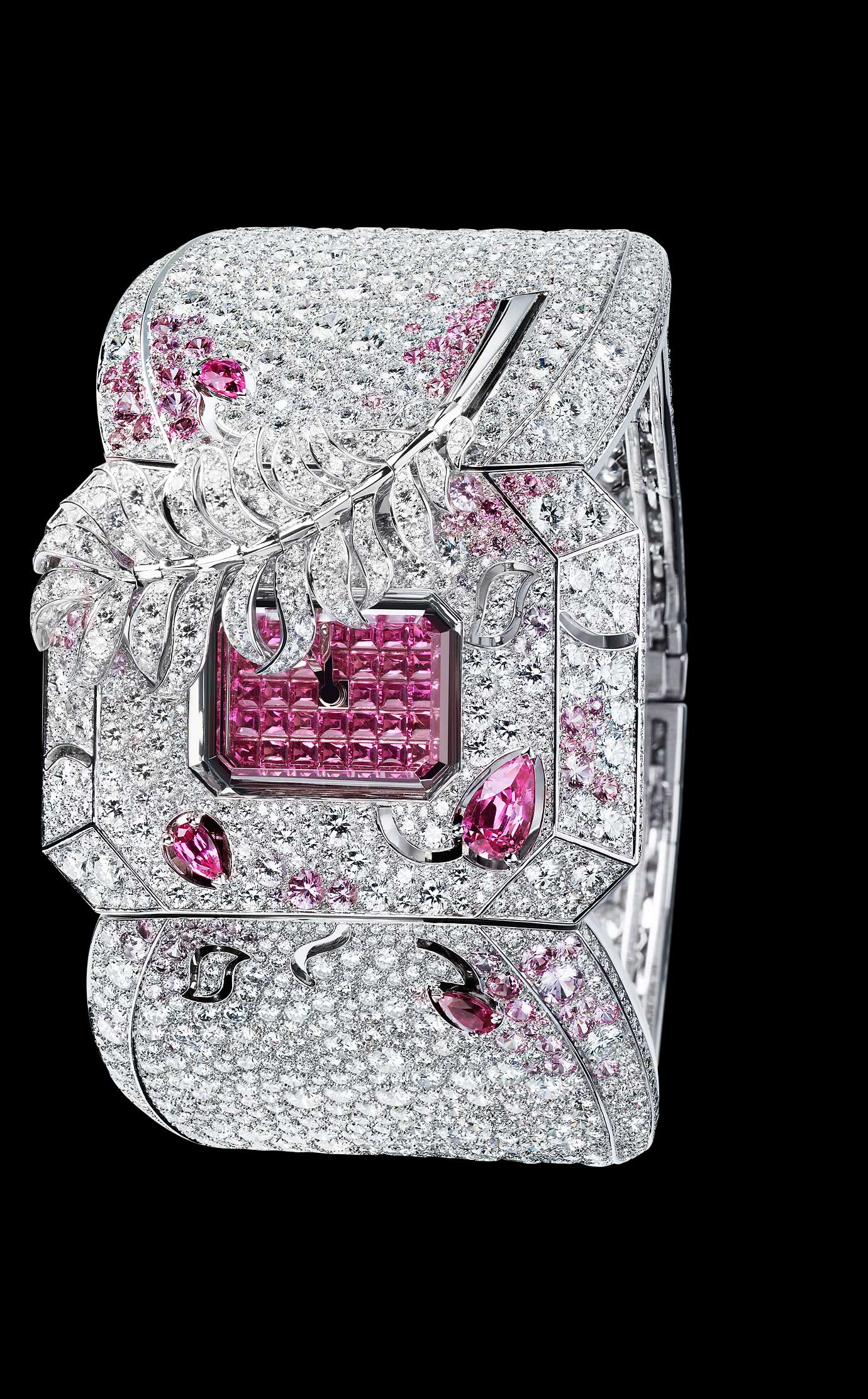 Les Eternelles de CHANEL. Watch in 18K white gold, pink sapphires and diamonds. High precision quartz movement. - Open