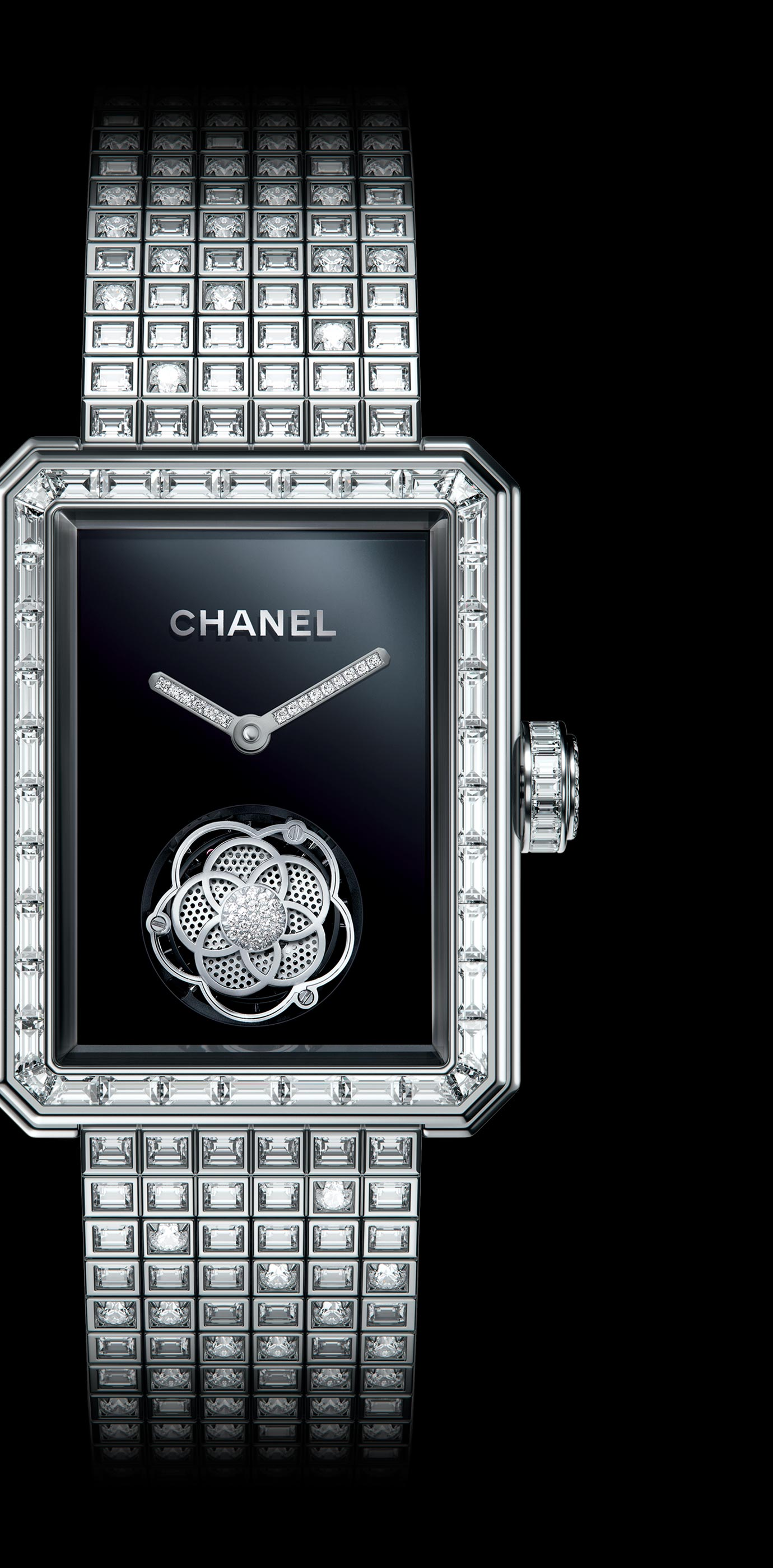 Première Flying Tourbillon watch in 18K white gold, case, bezel, crown and bracelet set with baguette- and brilliant-cut diamonds. - Enlarged view