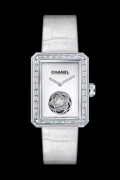 Première Flying Tourbillon watch in 18K white gold, case, bezel and crown set with baguette- and brilliant-cut diamonds.