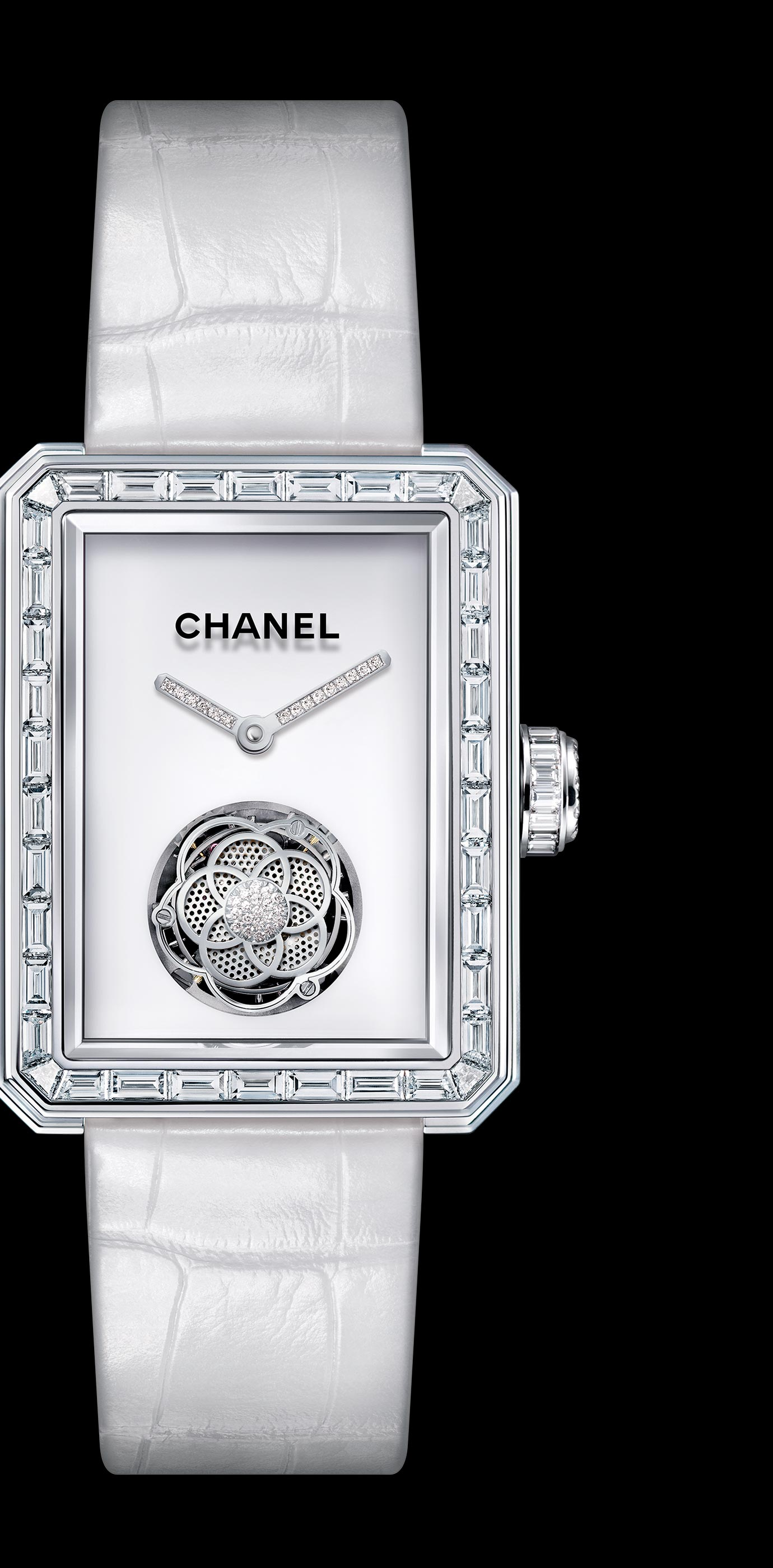 Première Flying Tourbillon watch in 18K white gold, case, bezel and crown set with baguette and brilliant cut diamonds.