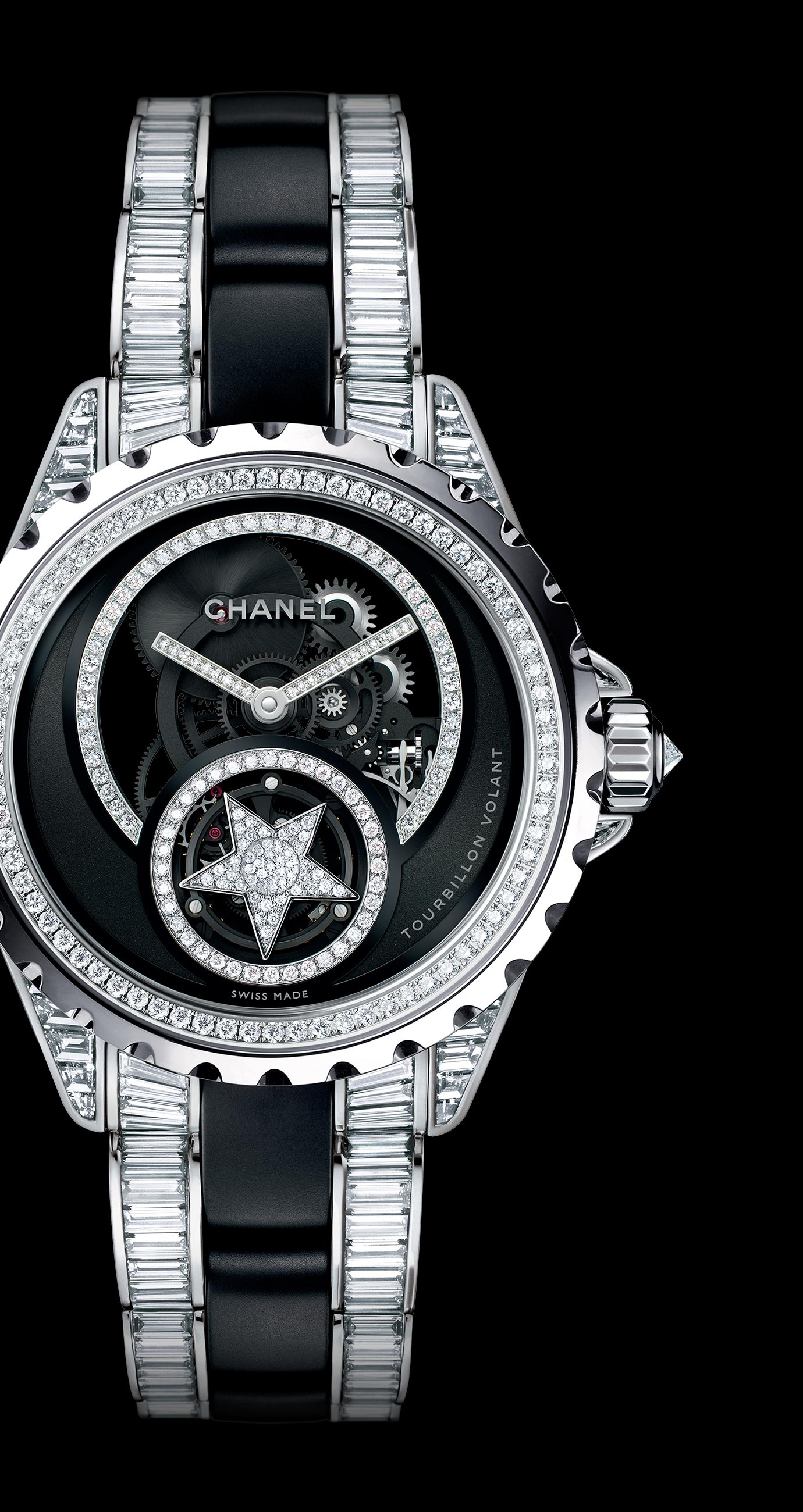 J12 Flying Tourbillon Skeleton in 18K white gold and black high-tech ceramic set with diamonds. Bracelet set with baguette-cut diamonds. - Enlarged view