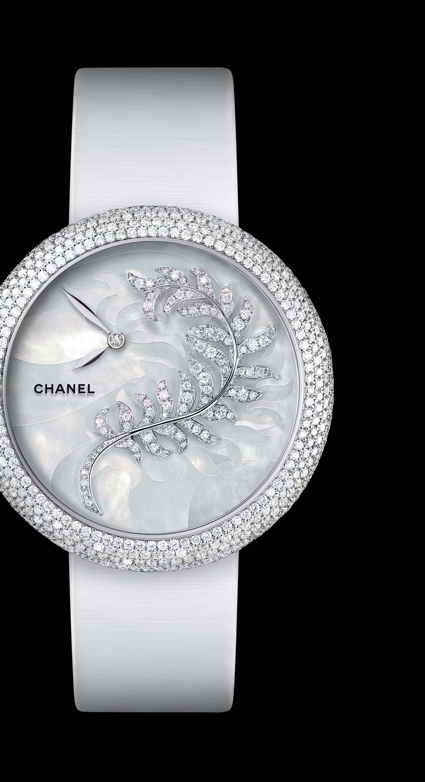 Mademoiselle Privé Bijoux de Diamants Plume Jewelry watch - mother-of-pearl marquetry and diamonds. - Enlarged view