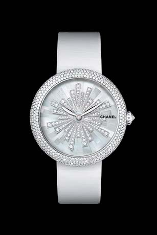 Mademoiselle Privé Bijoux de Diamants Soleil Jewelry watch - mother-of-pearl marquetry and diamonds.