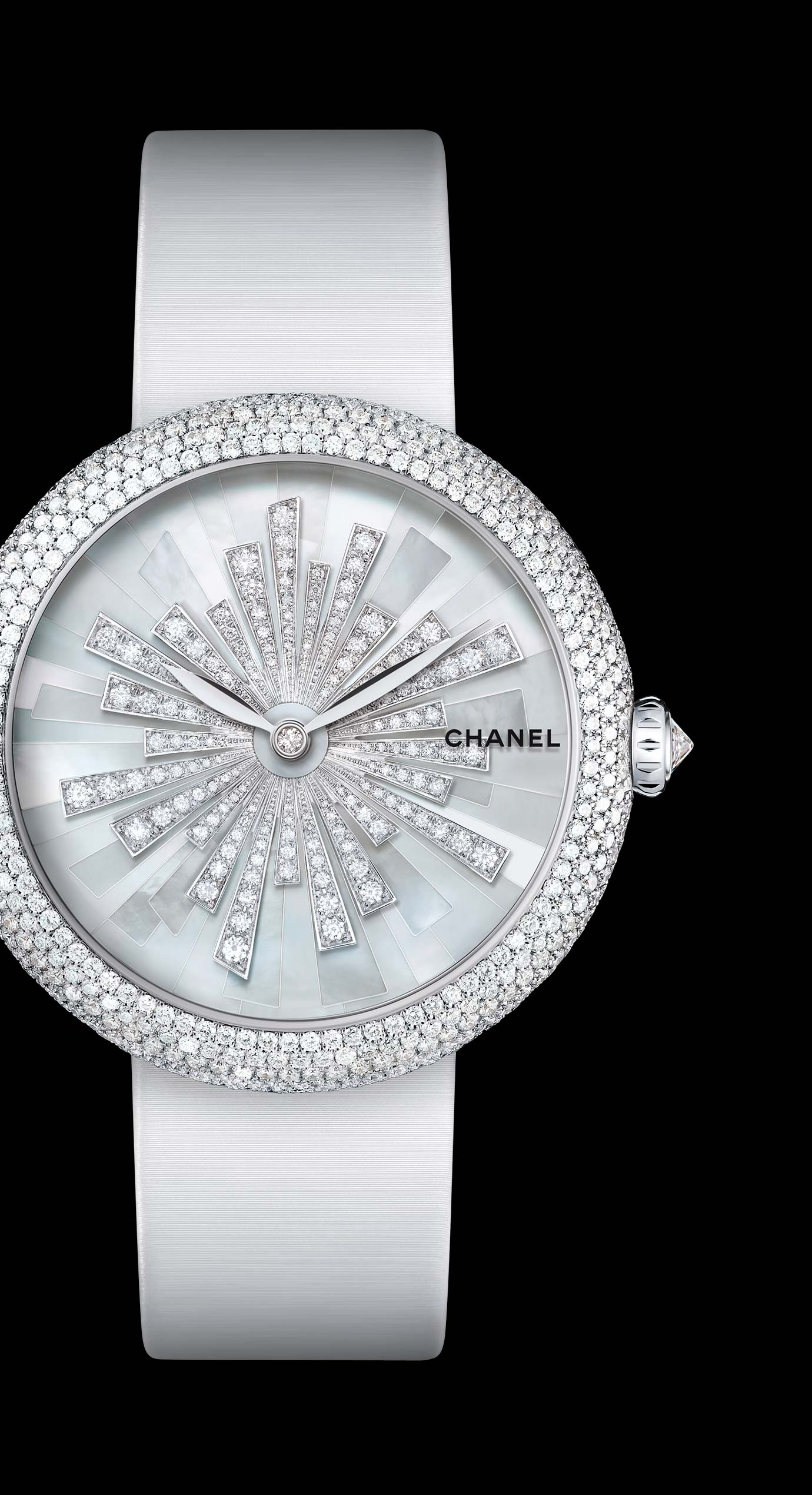 Mademoiselle Privé Bijoux de Diamants Soleil Jewellery watch - mother-of-pearl marquetry and diamonds.