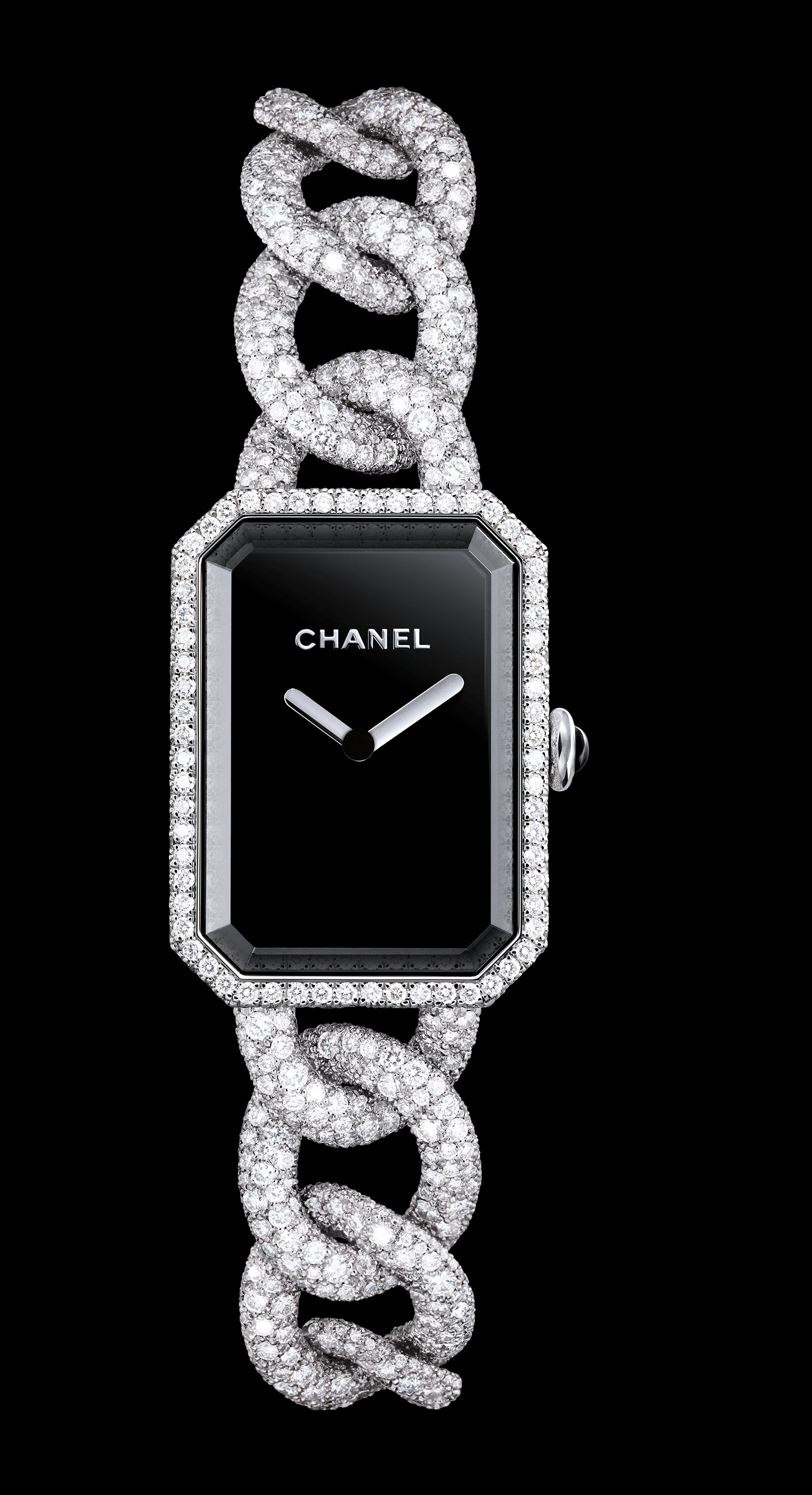 PREMIÈRE watch in 18K white gold with snow set diamonds.