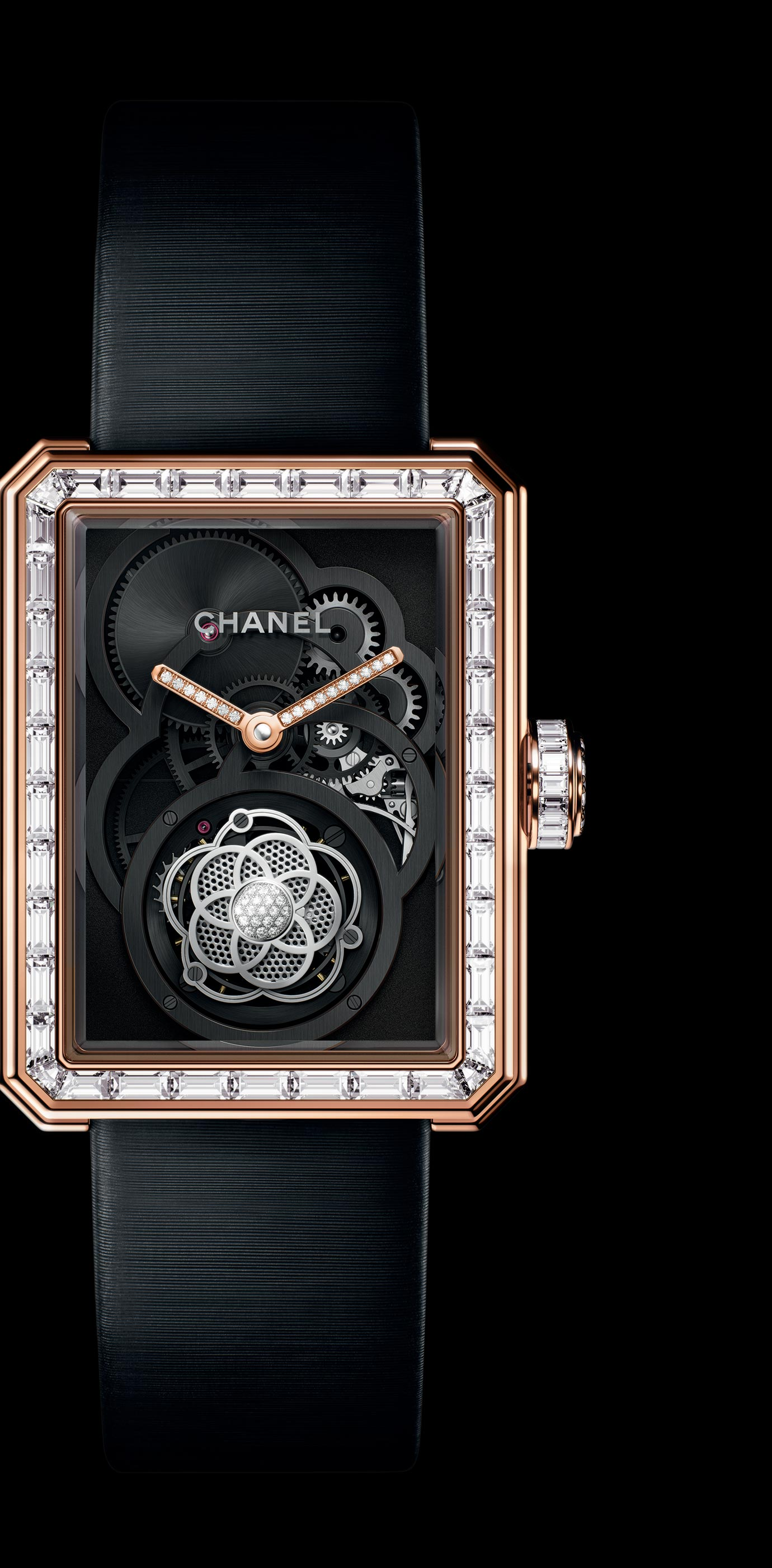 Première Flying Tourbillon Openwork watch in BEIGE GOLD, case, bezel and crown set with baguette and brilliant cut diamonds.