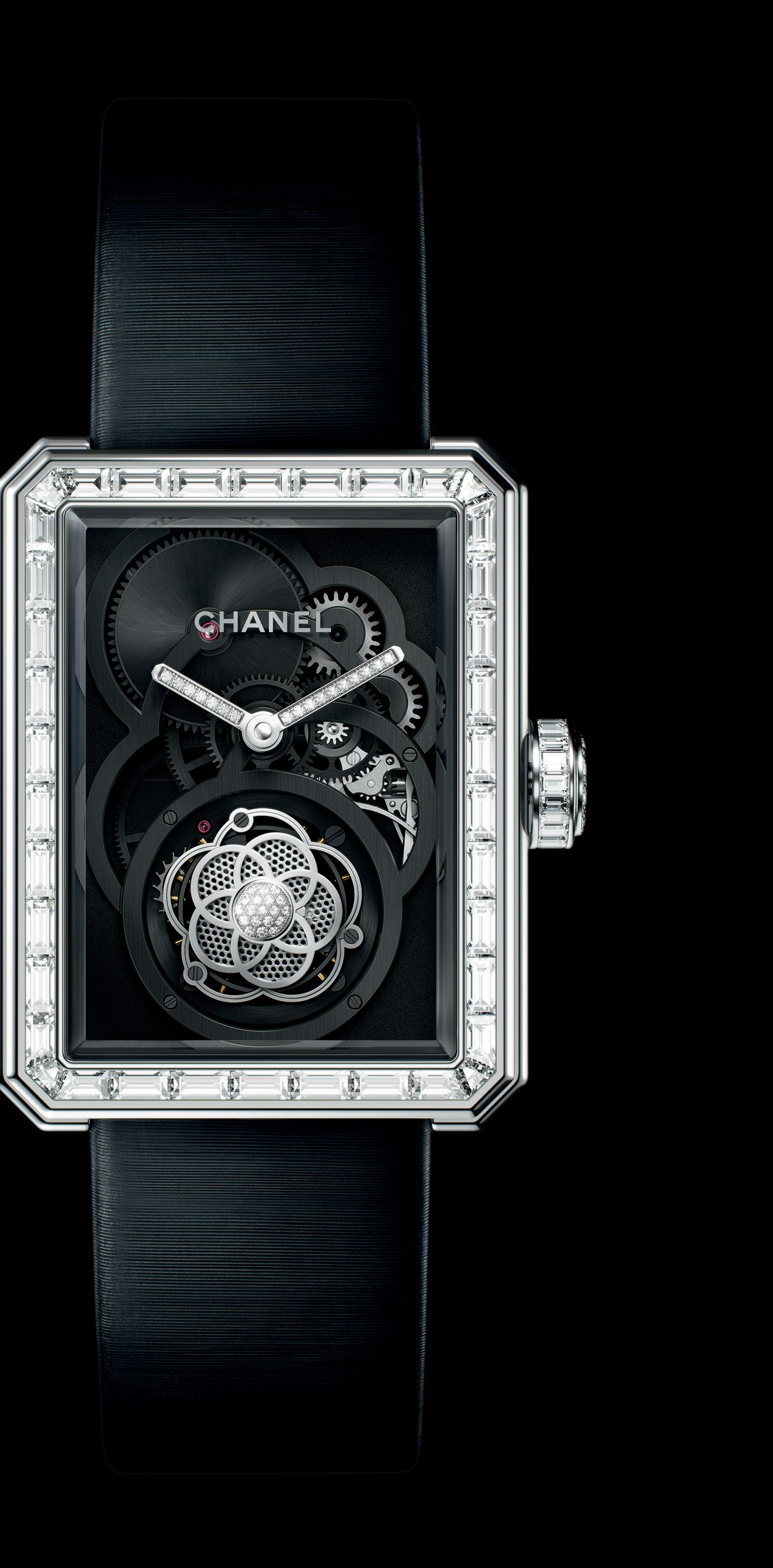 Première Flying Tourbillon Openwork watch in white gold, case, bezel and crown set with baguette- and brilliant-cut diamonds. - Enlarged view