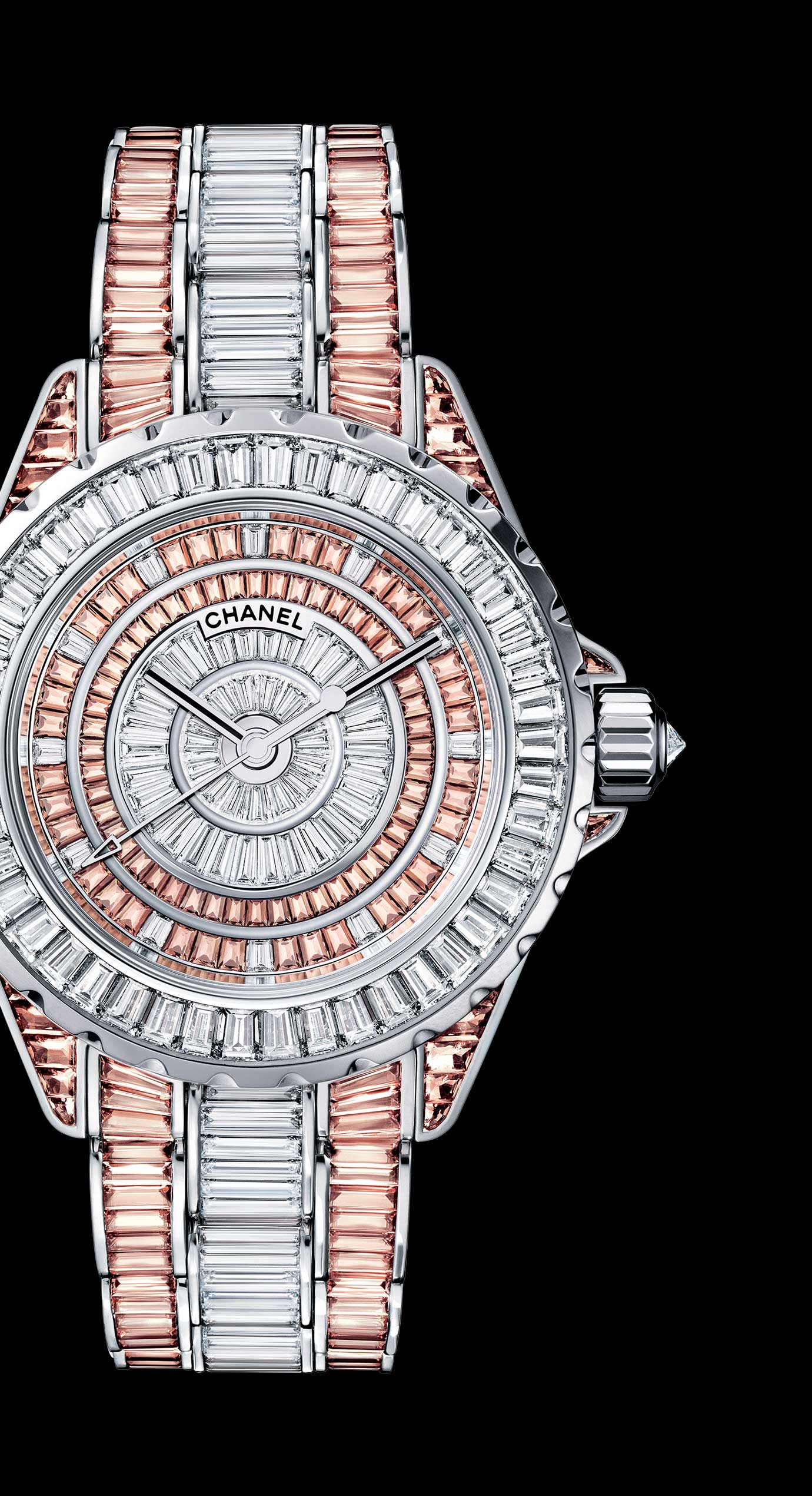 J12 High Jewelry in white gold, case, dial, bezel and bracelet set with baguette-cut diamonds and cognac sapphires.